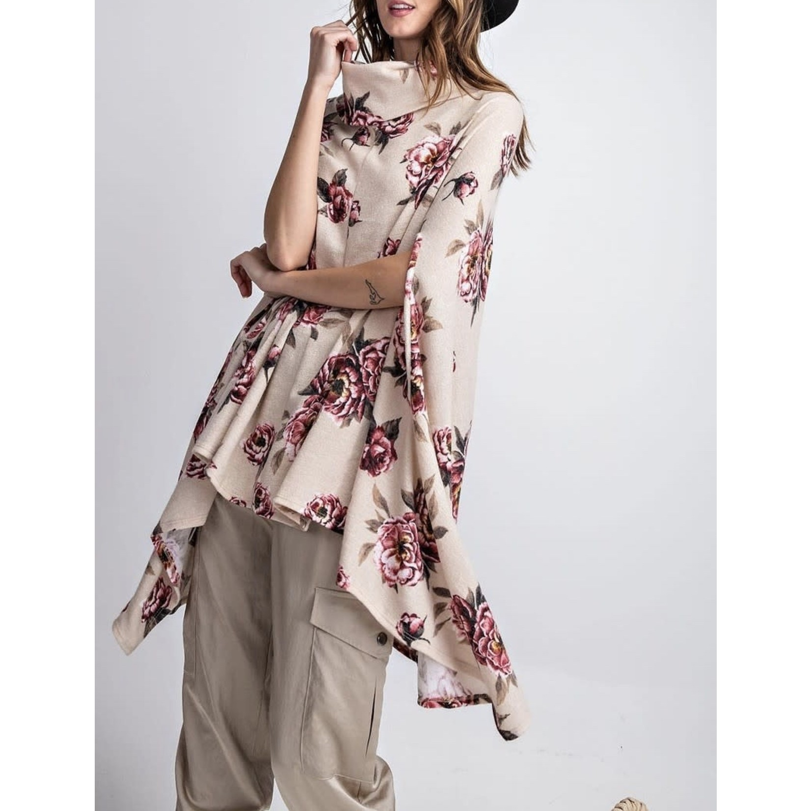 Easel Floral Oversized Cowl Neck Poncho