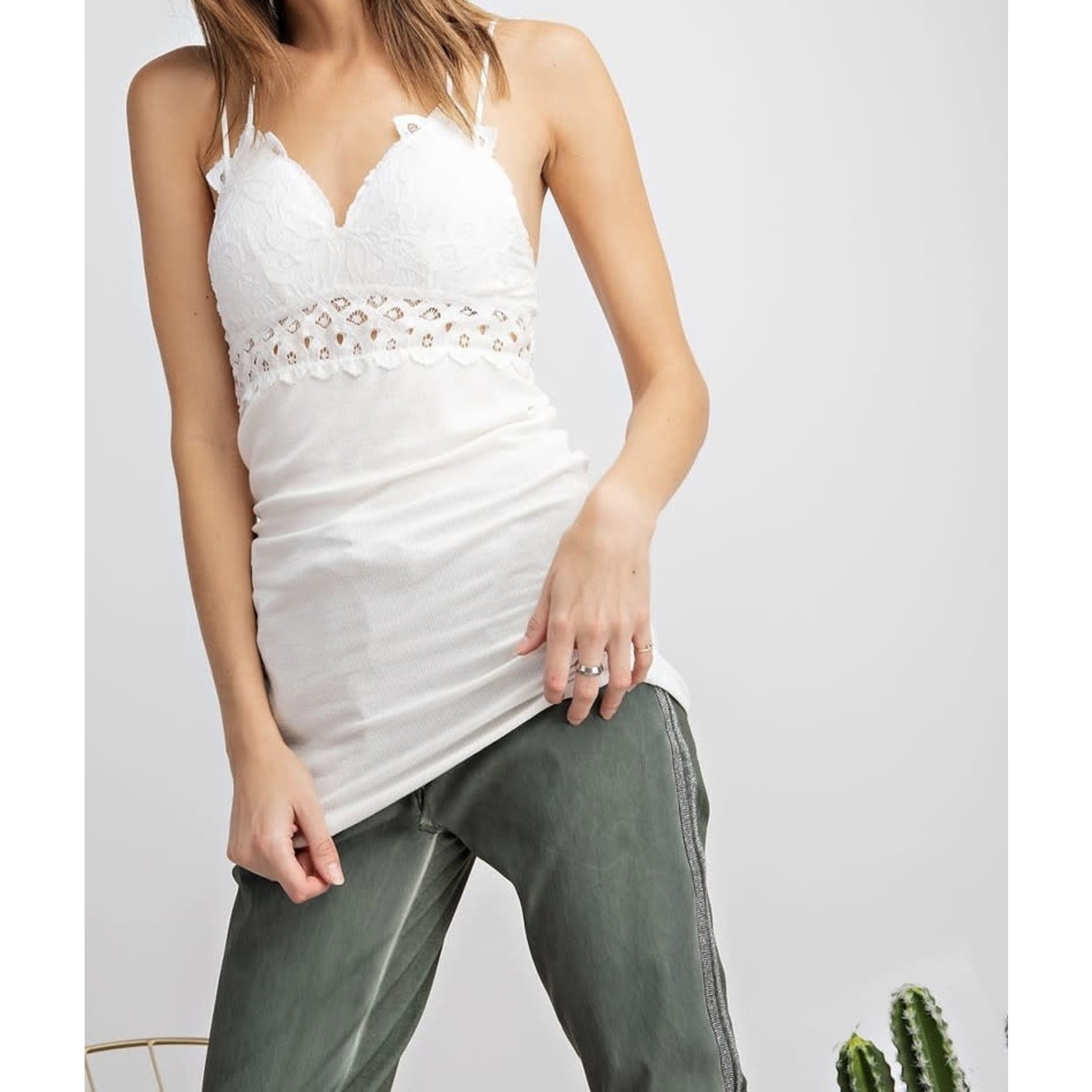 Easel Bralette Ribbed Tank Top Contrast Tunic