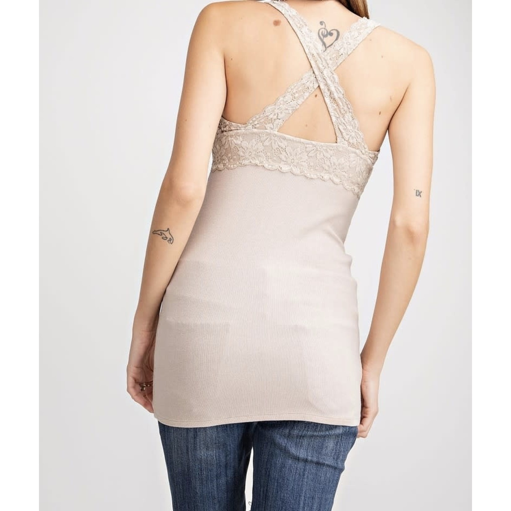 Easel Lace Bralette Ribbed Tunic