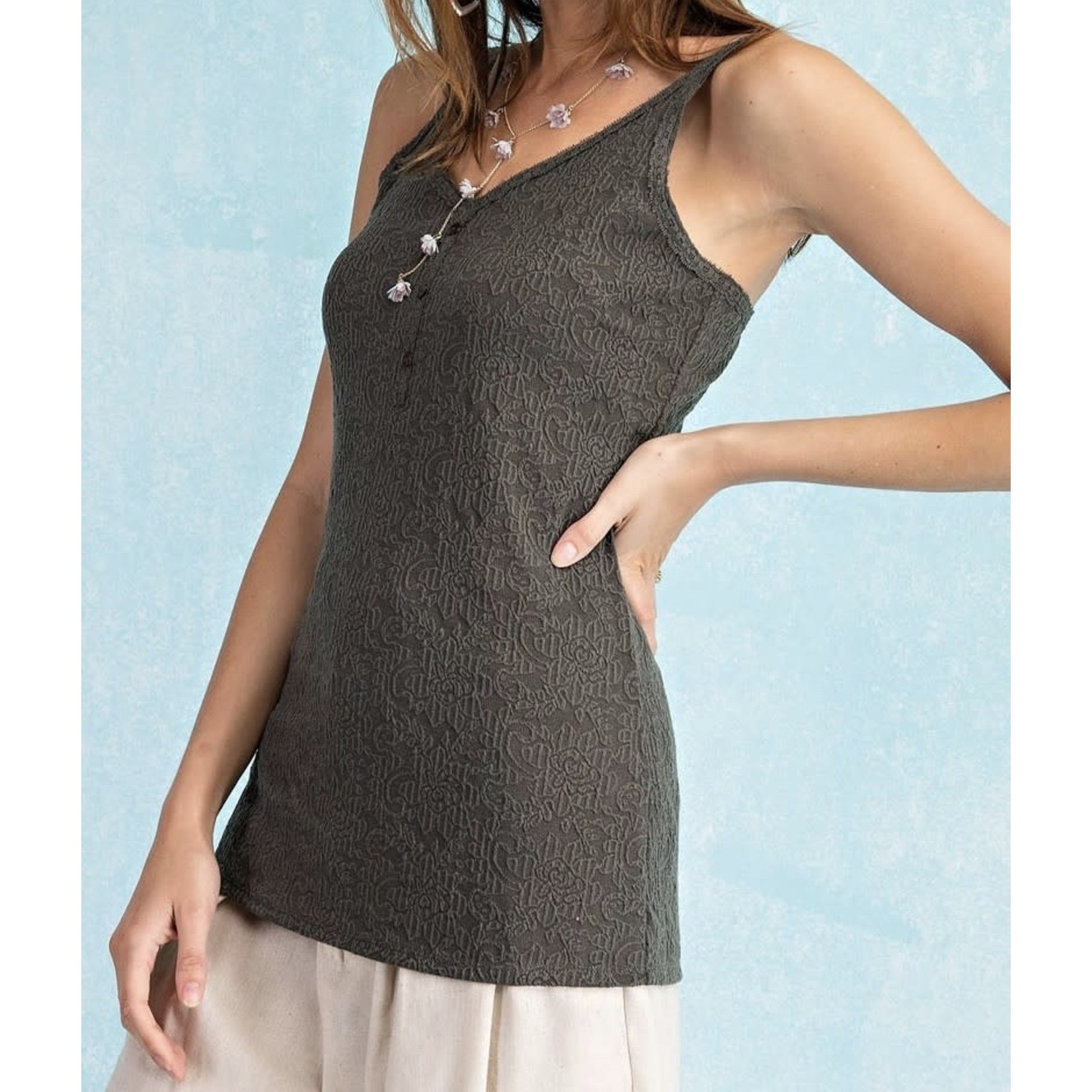 Easel Textured Jaquard+Button Up Knit Tunic