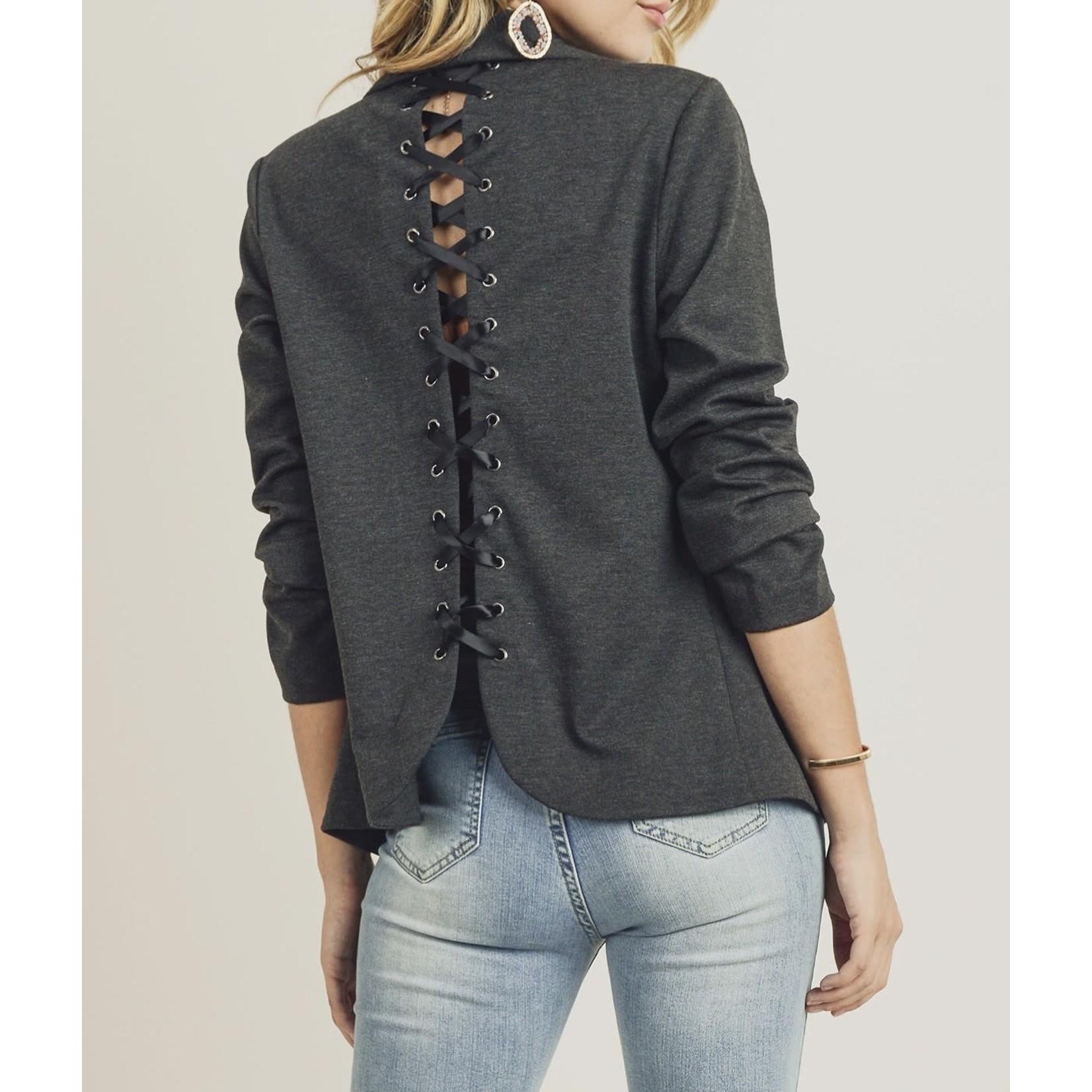 Doe & Rae Charcoal Lace Up Back Jacket