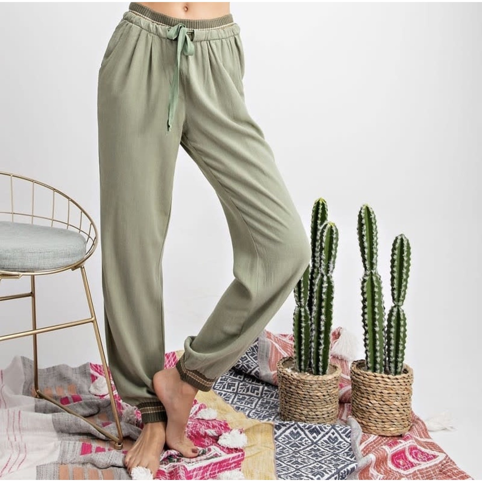 Easel Sage Comfy Relaxed Fit + Rib Band Detail Pants