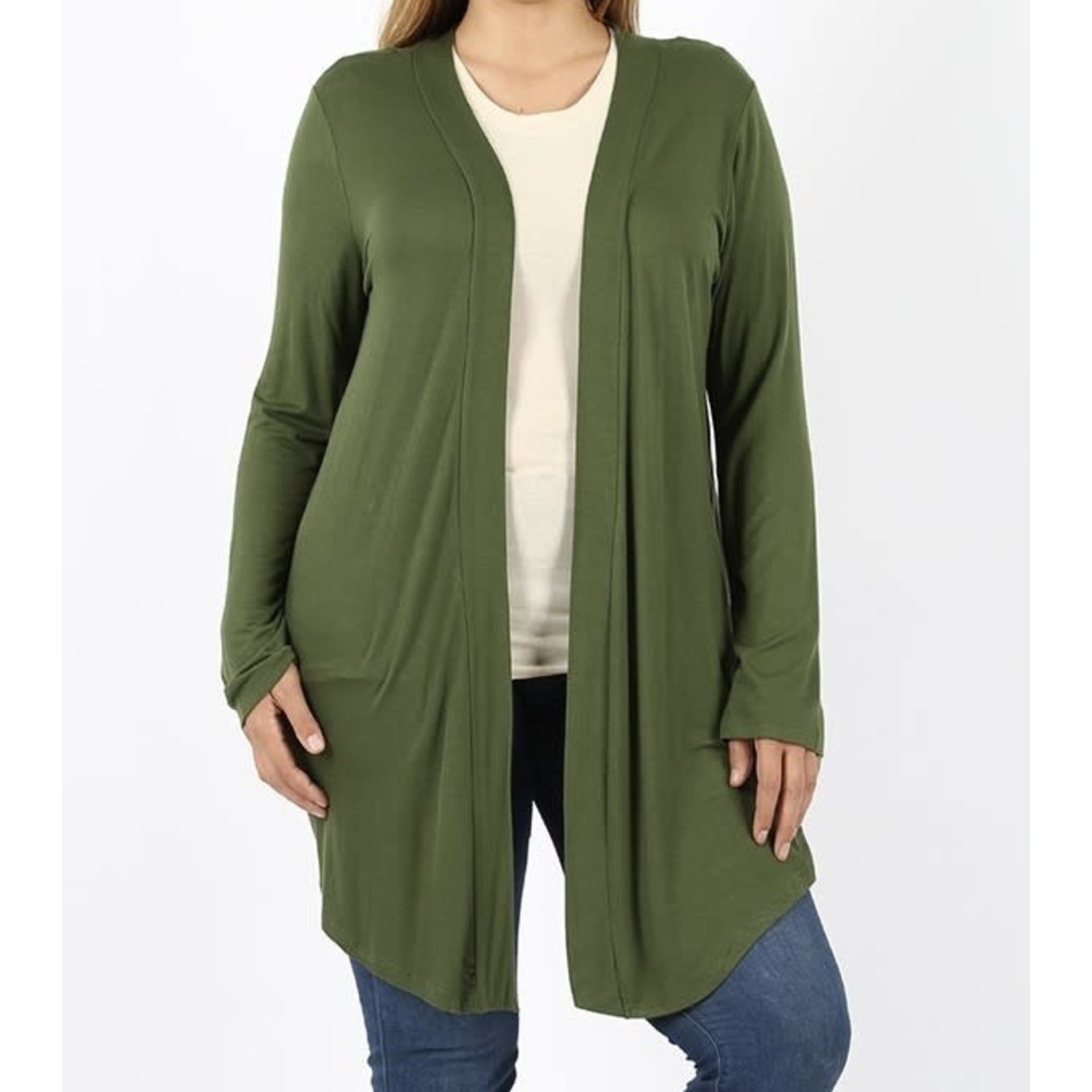 Zenana Plus Size Drapery Open Front Cardigan