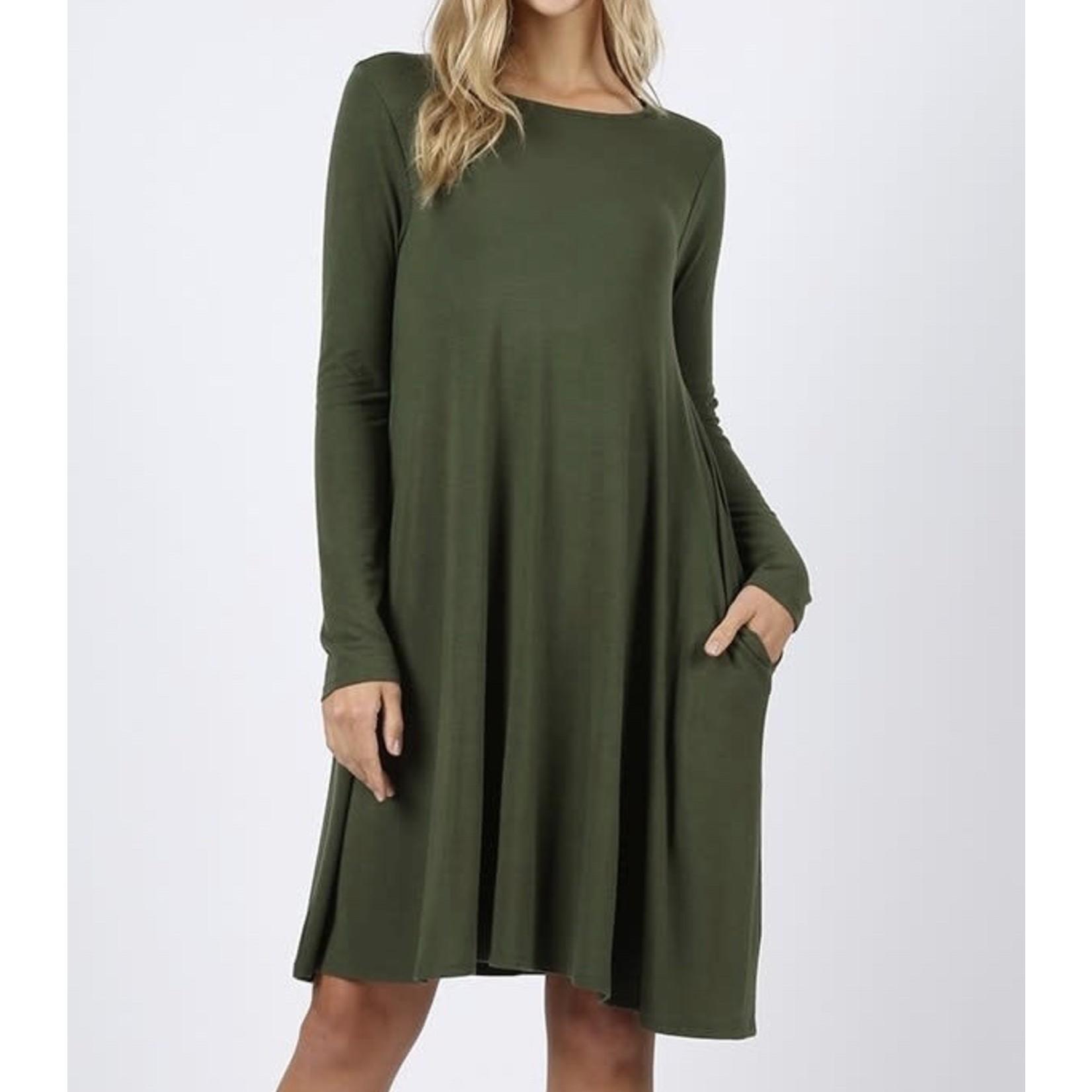 Zenana Plus Size Long Sleeve Flare Dress with Pockets