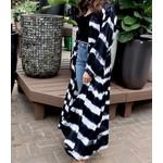 Panache Outerwear: Black+ White Wide Stripe Kimono
