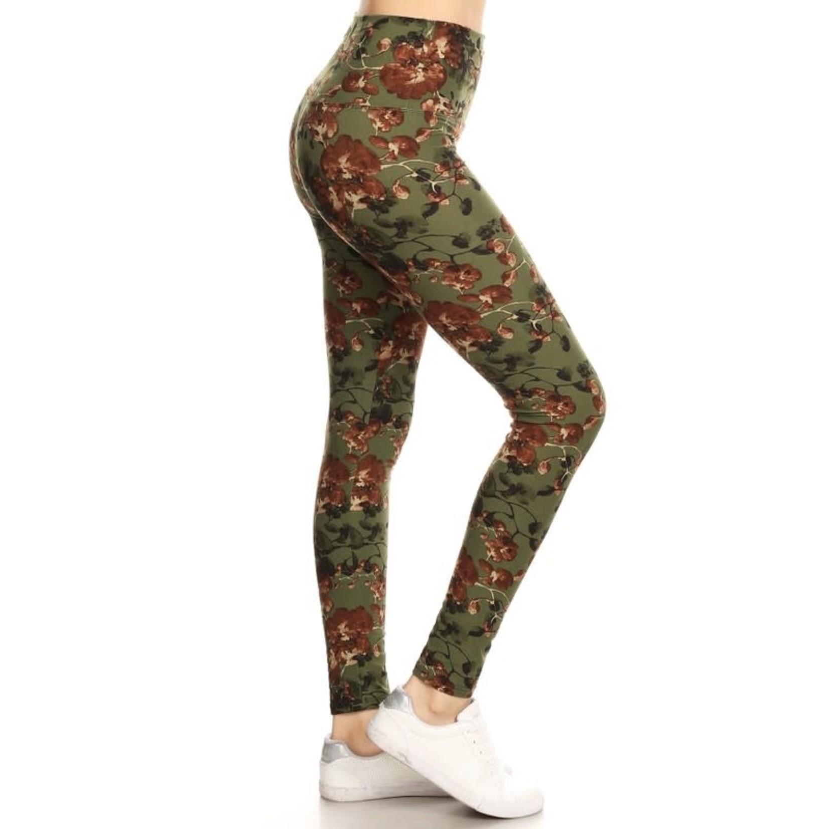 LOVE IT Yoga Olive Floral Leggings