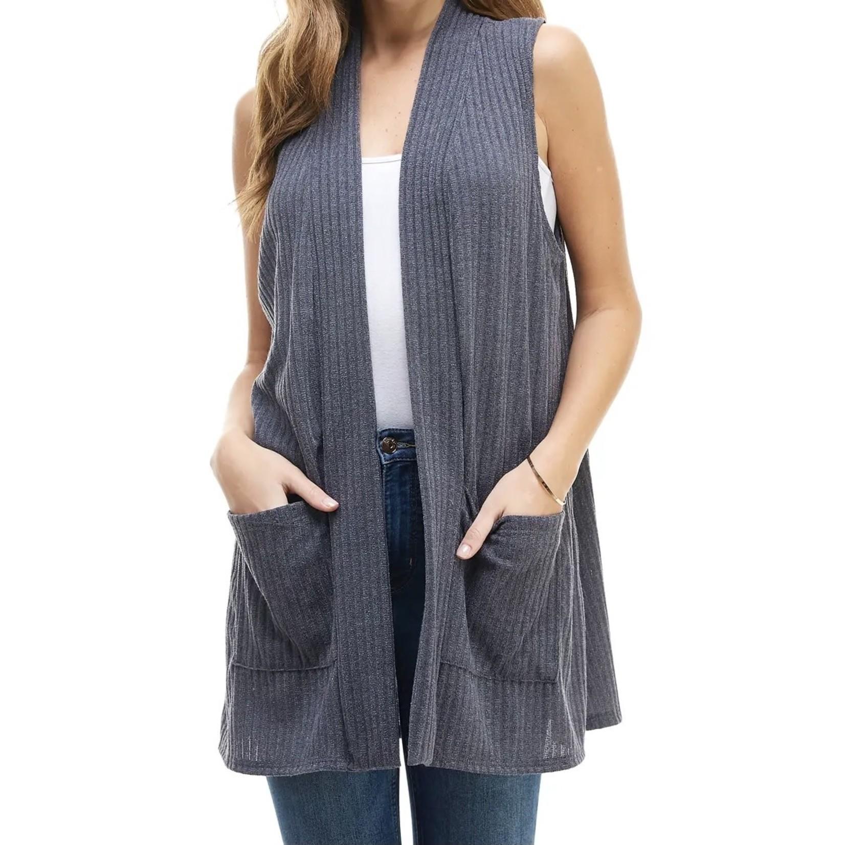 Azules Vest: Brushed Ribbed + Pockets