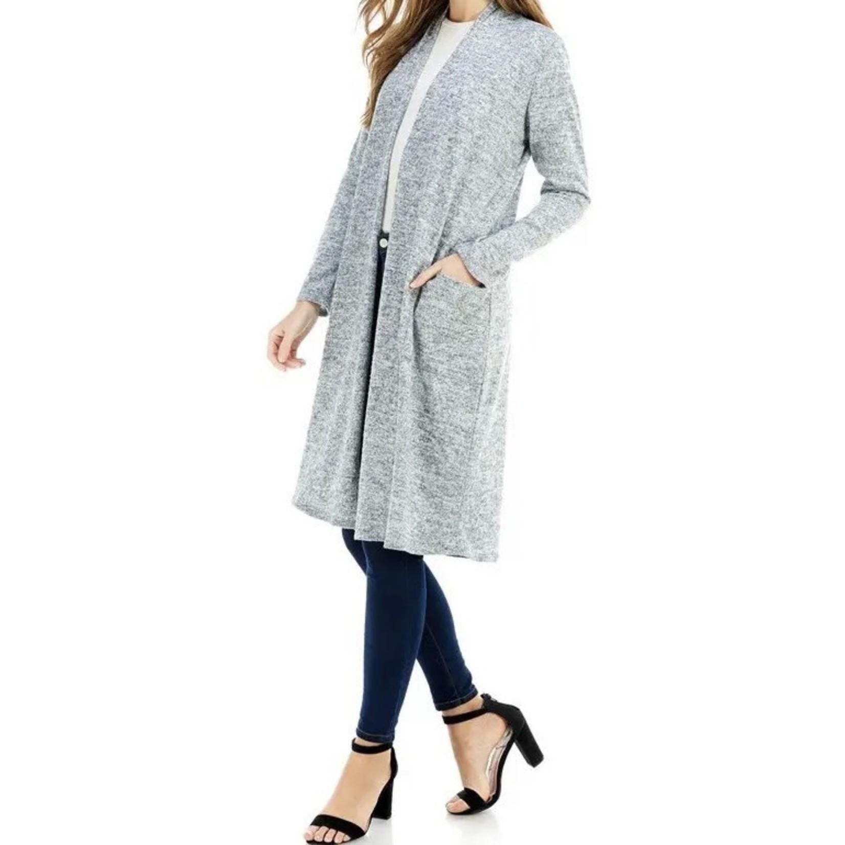 Azules Knitwear: Maxi Long Sleeve Cardigan + Pockets