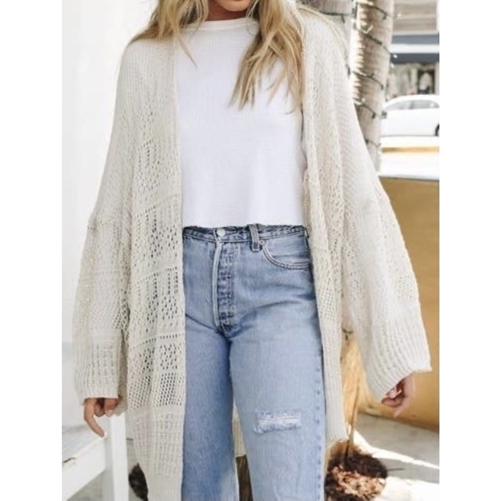Leto Accessories Knitwear: One Size Cream Netted Cardigan