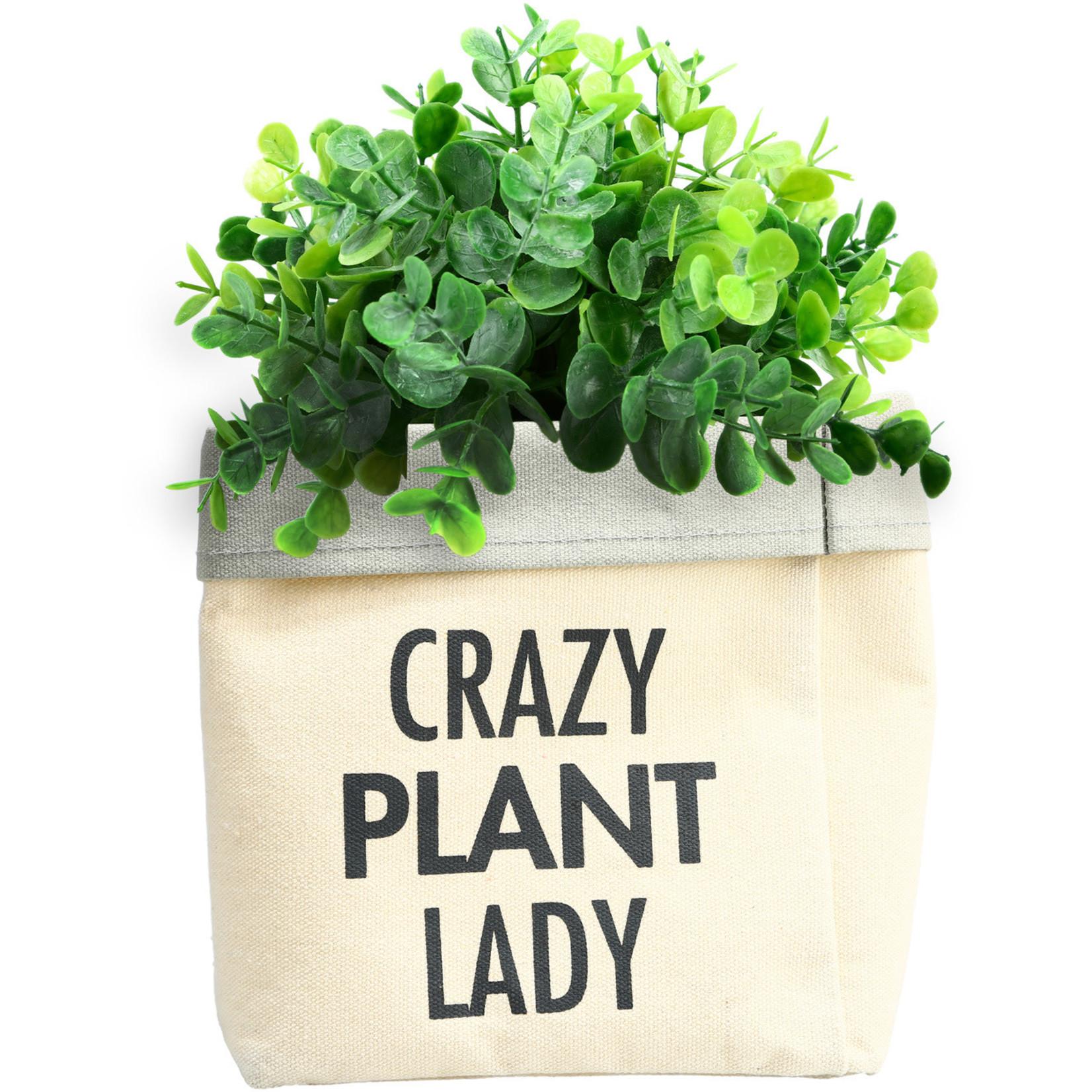 Pavilion Gift Co. Decor: Canvas Planter- Plant Lady