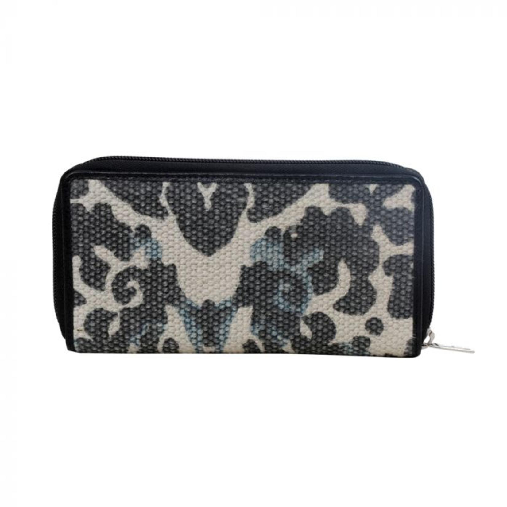 Myra Bag Wallet: Blue Foliaged