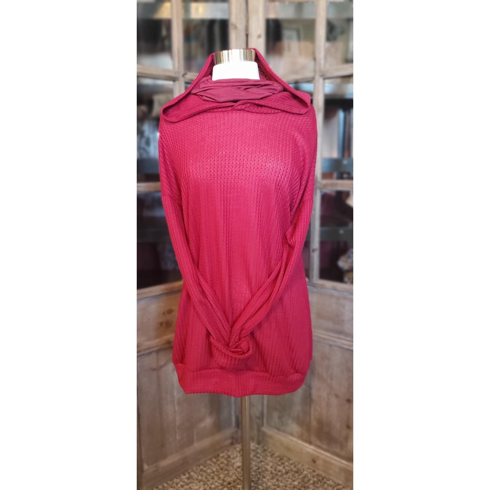 Blumin Apparel Knitwear: Burgandy Thermal Mask Hoodie