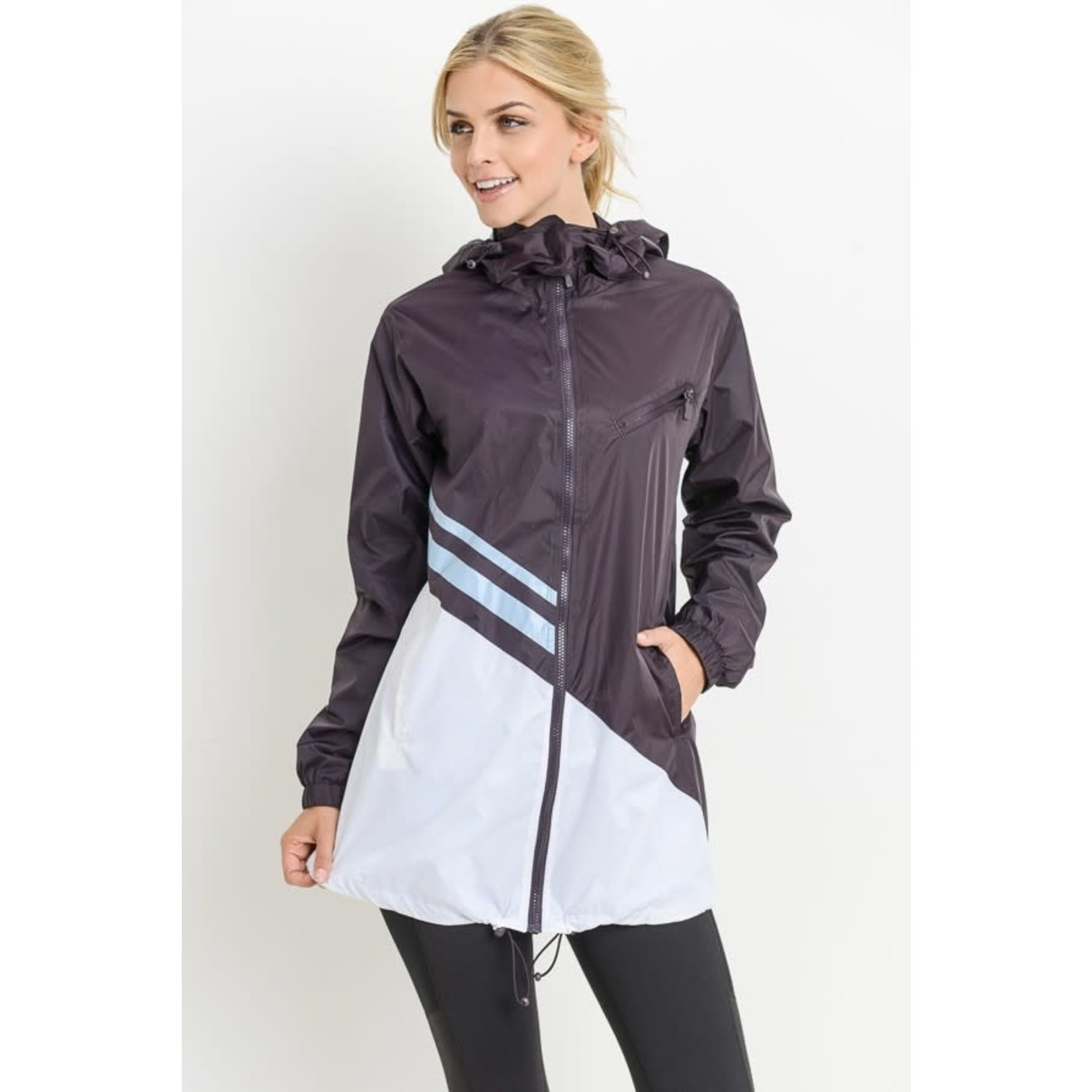 Mono B Activewear: Plum Colorblock Windbreaker: Large