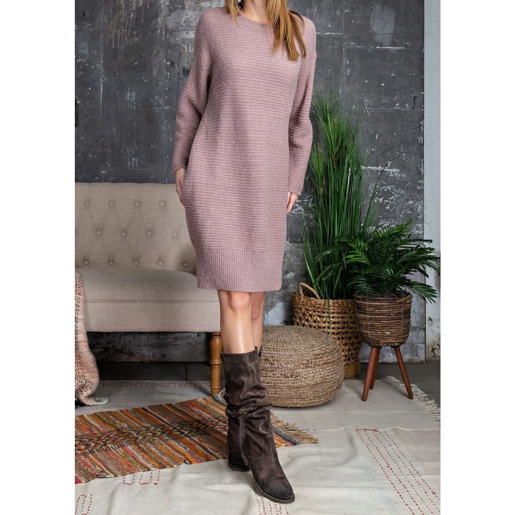 Easel Dress: Mauve Knitted Sweater