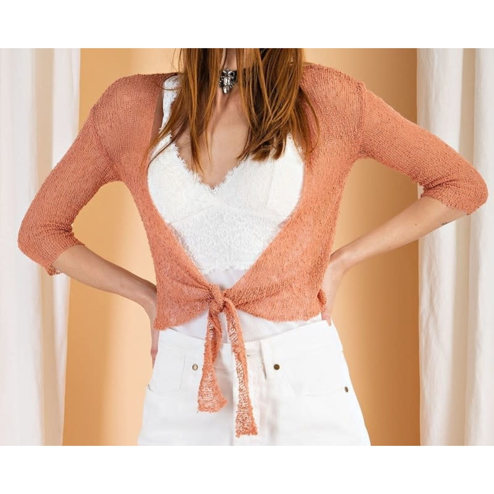 Easel Knitwear: Faded Coral Sweater