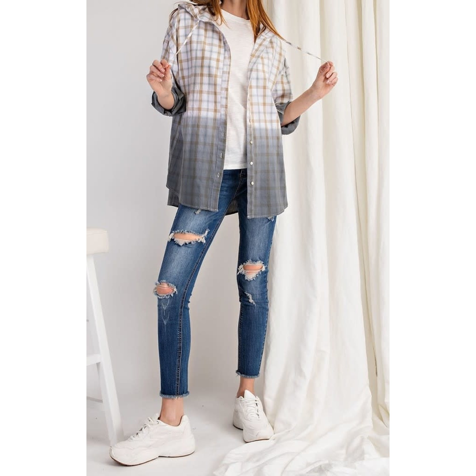 Easel Blouse: Dipped Plaid Button Down