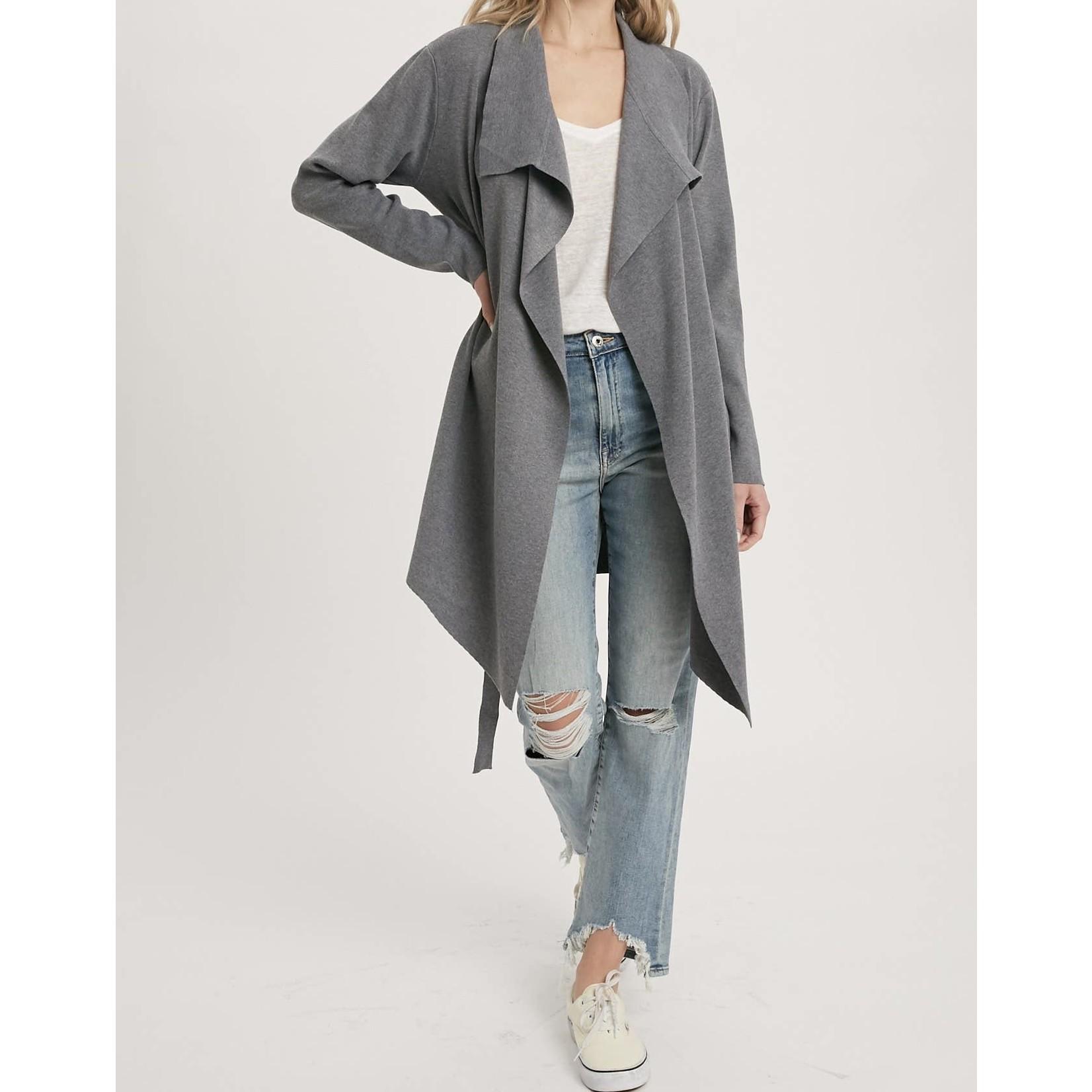 Blueivy Jacket: Dark Grey Drape Front Trench