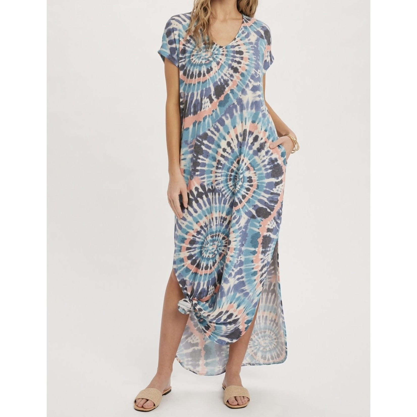 Blueivy Dress: Teal Blue Tie Dye Maxi + Pockets