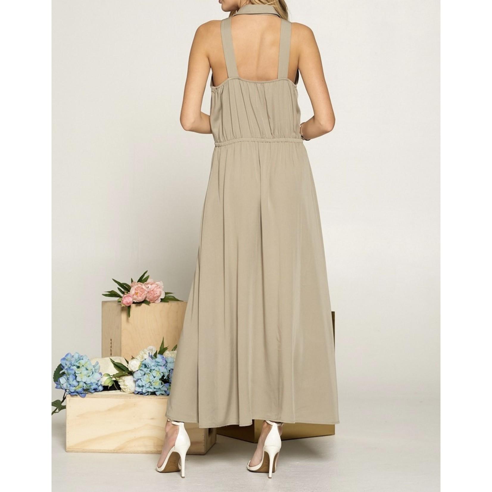 Doe & Rae Dress: Dried Thyme Button Down Maxi