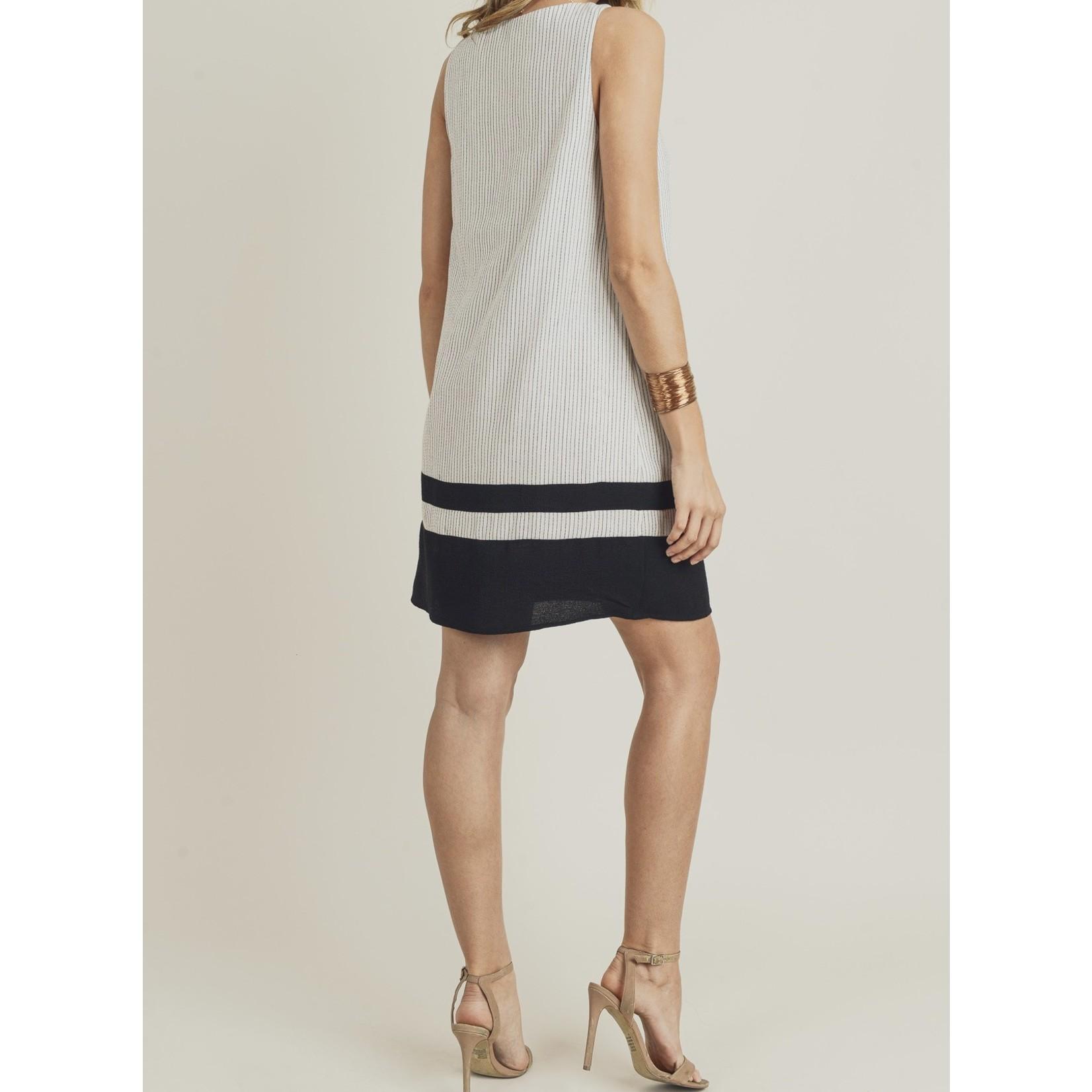 Doe & Rae Dress: Black Stripe Woven Color Block