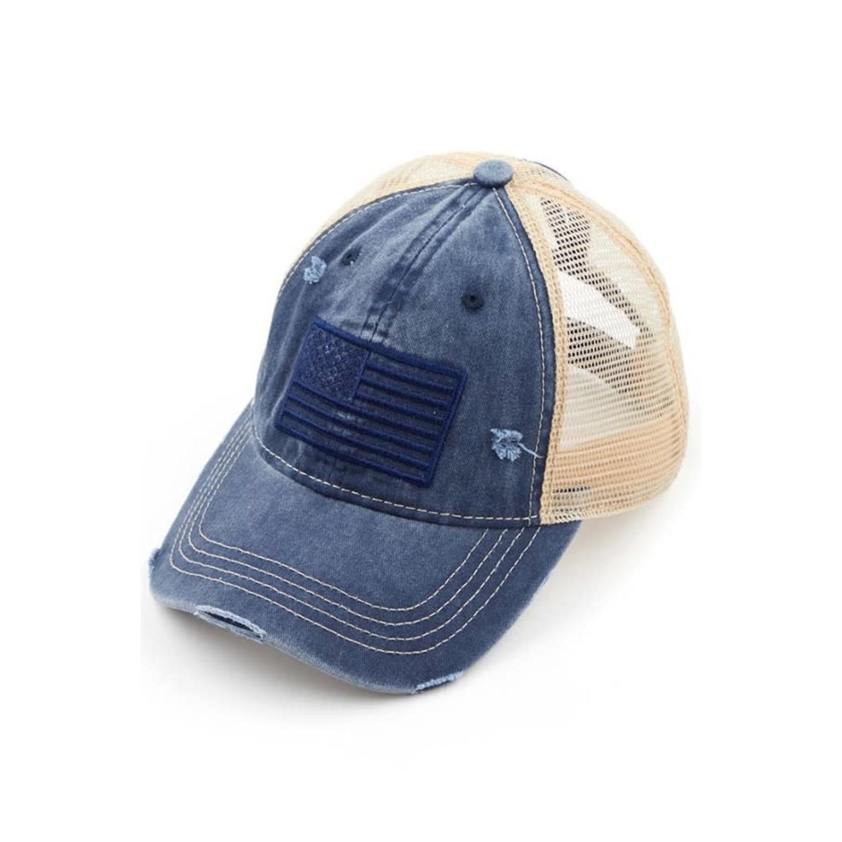 Hanna Hoisery Accessories: Navy U.S.A. Ponytail Trucker Hat