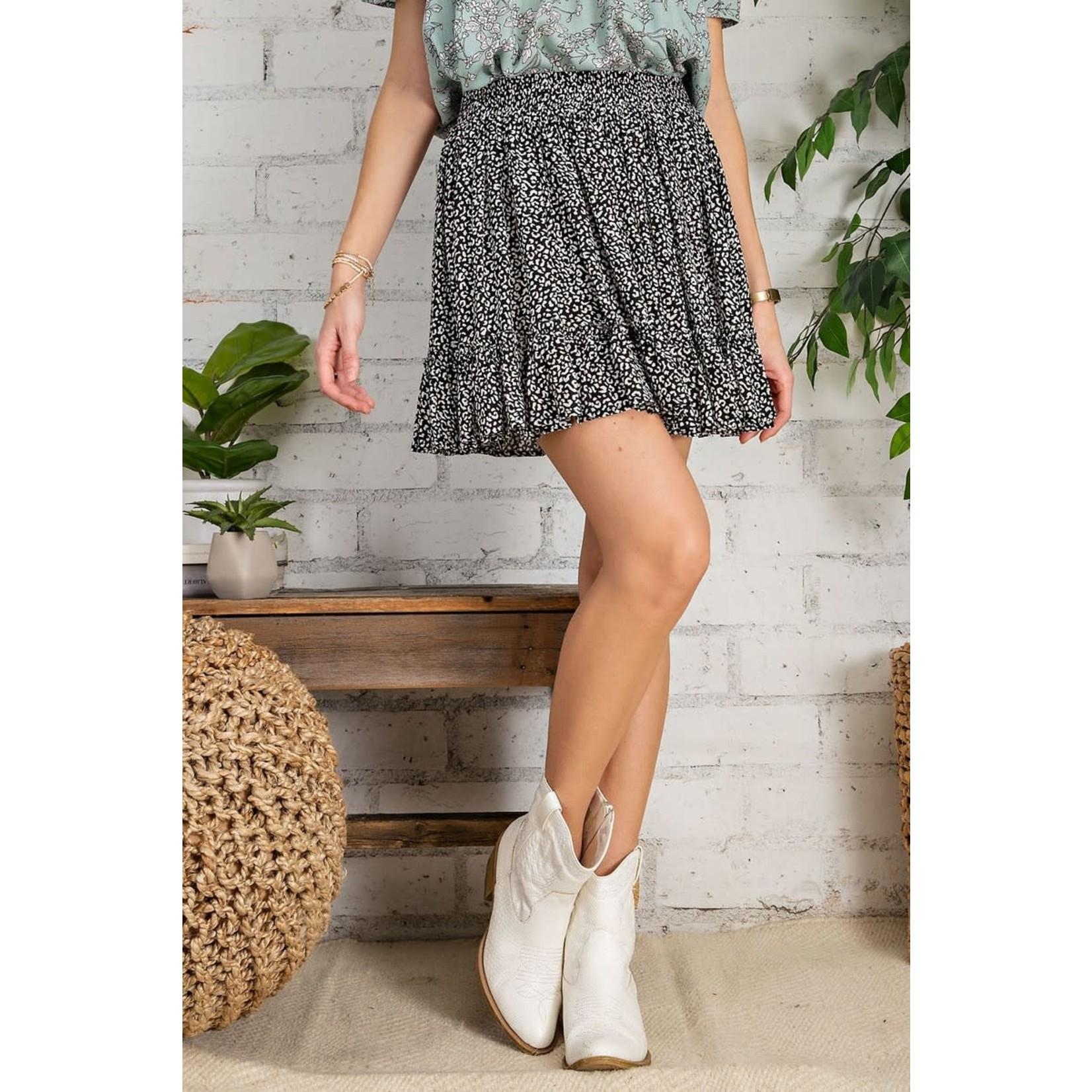 Easel Bottom: Black Printed Ruffle Skirt