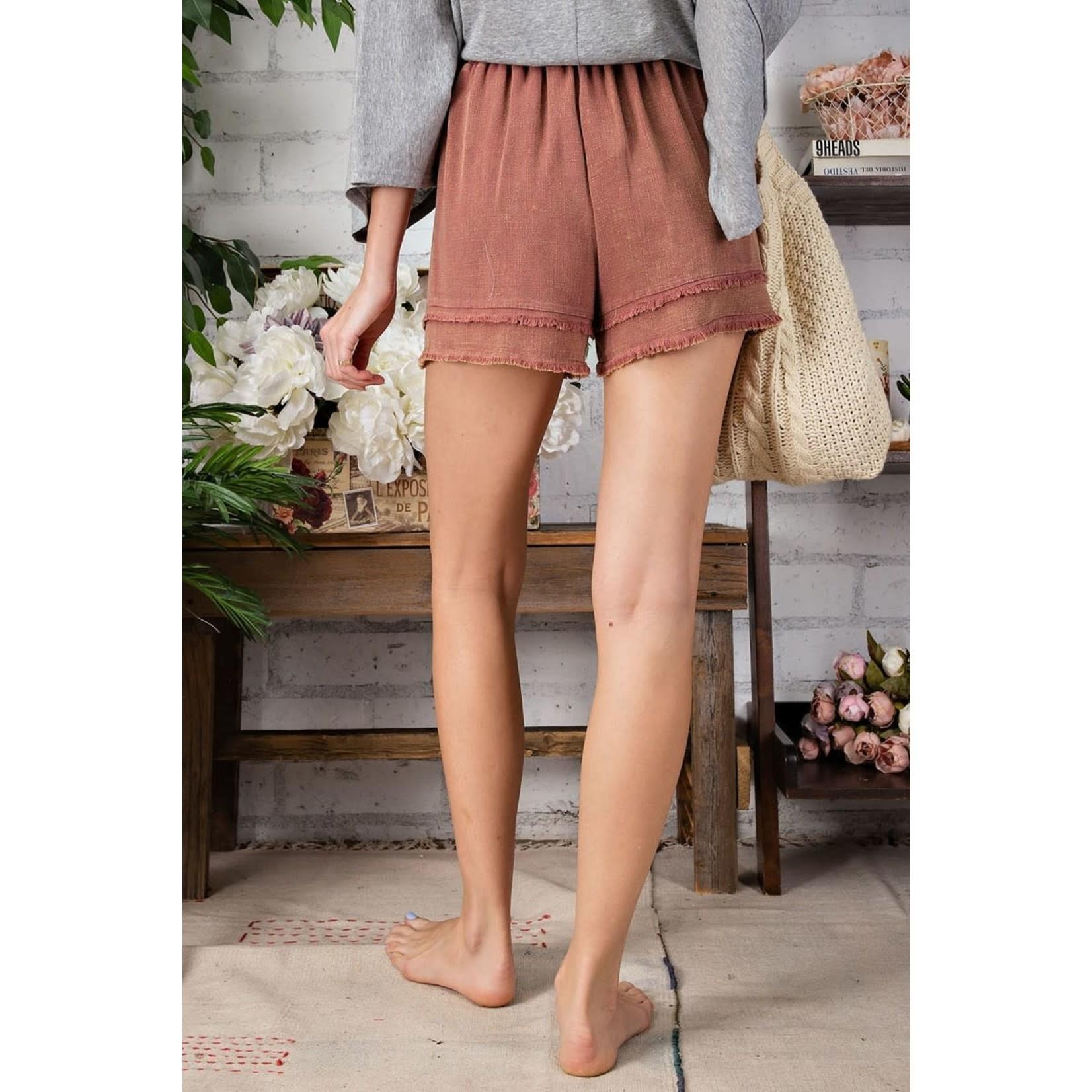 Easel Bottom: Fray Linen Shorts