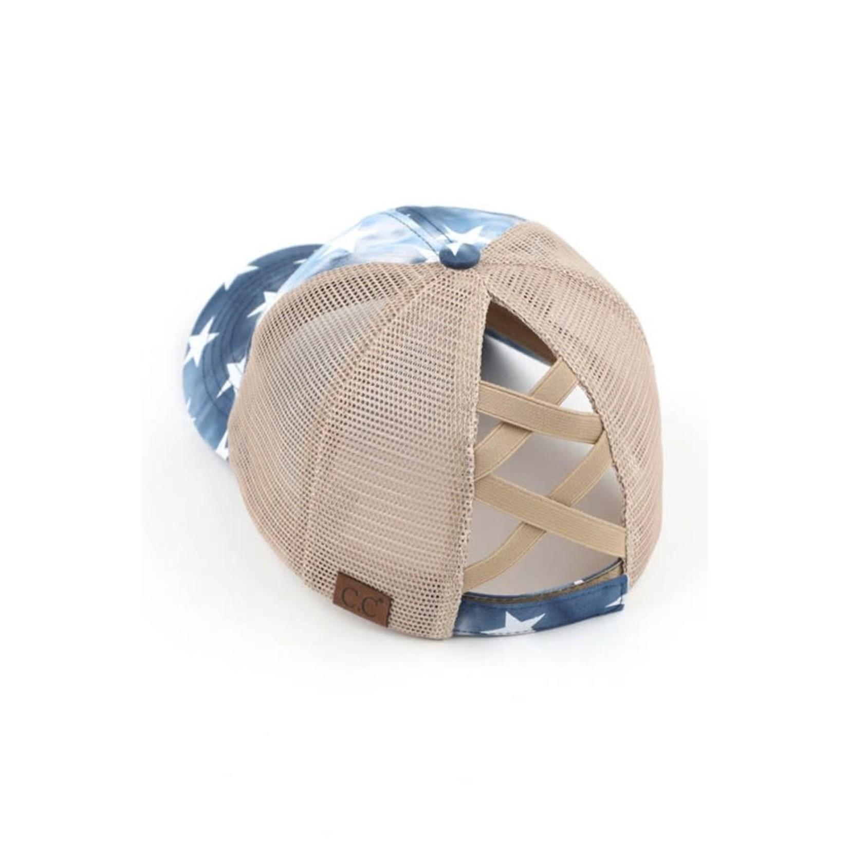 Hanna Hoisery Accessories: Navy U.S.A. Star Ponytail Trucker Hat