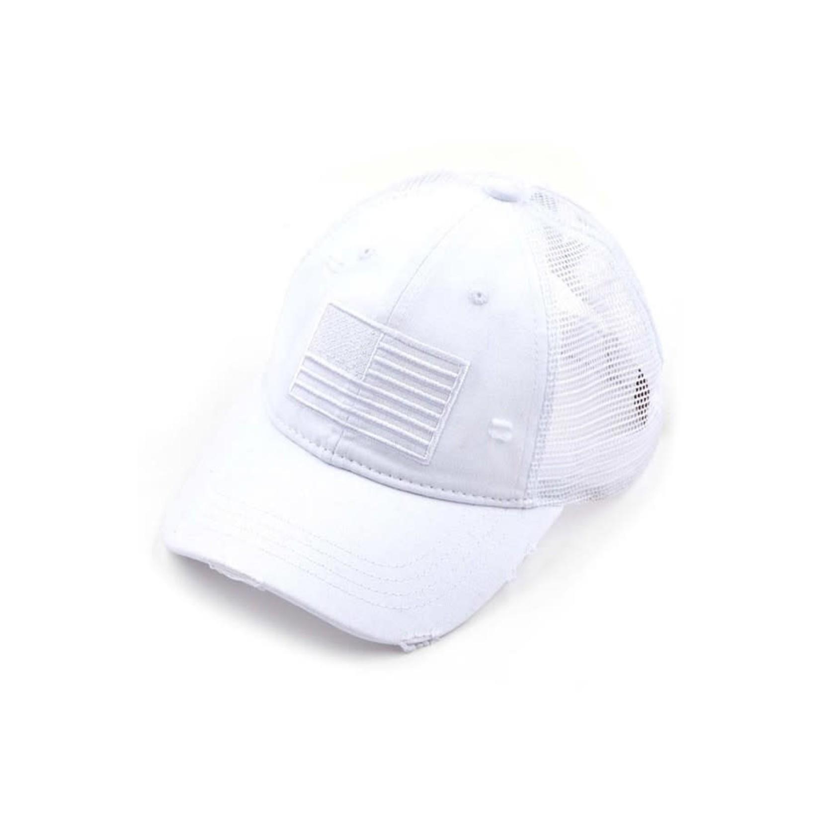 Hanna Hoisery Accessories: WhiteU.S.A. Ponytail Trucker Hat