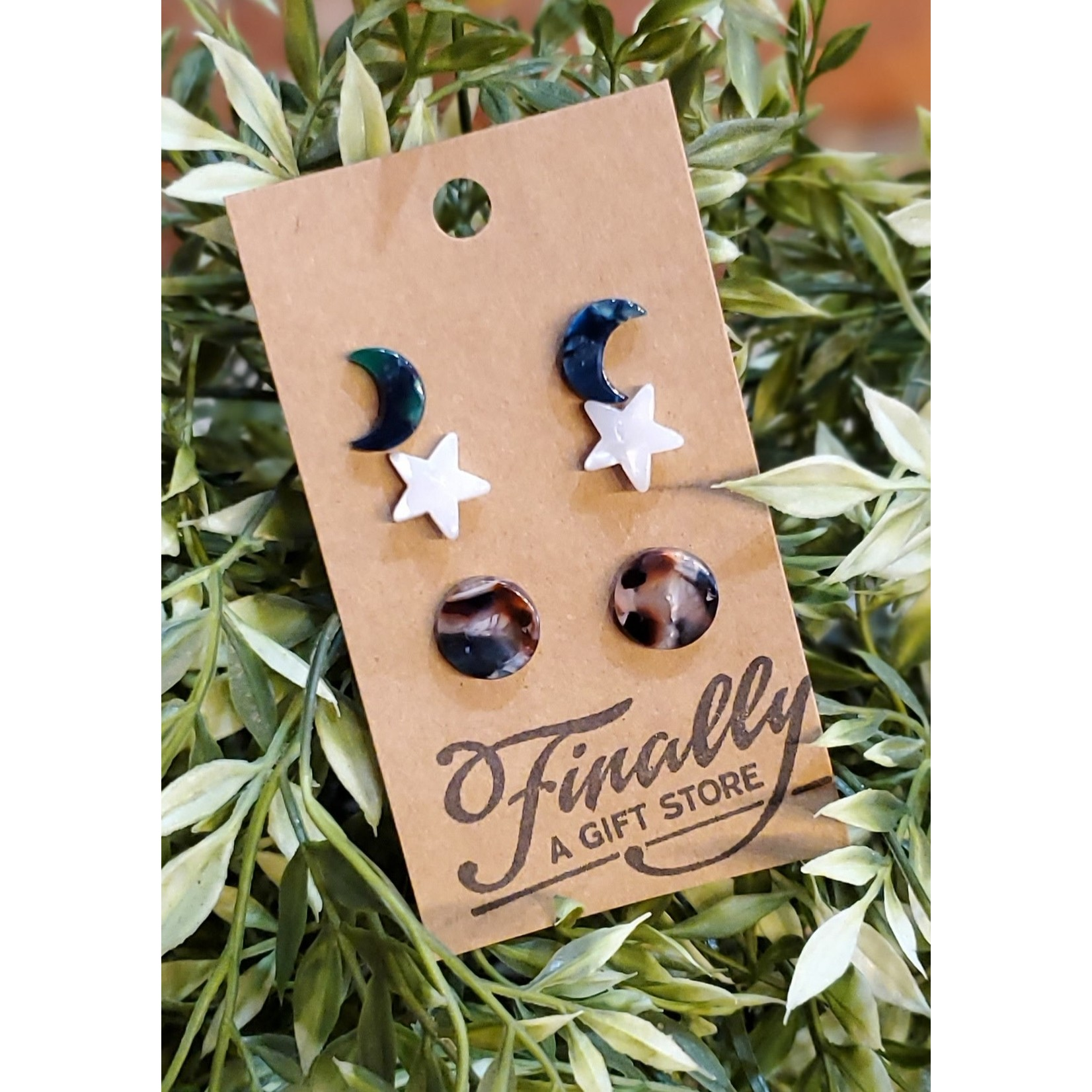 Baubles by B Earrings: Acrylic Shapes Stud Trio