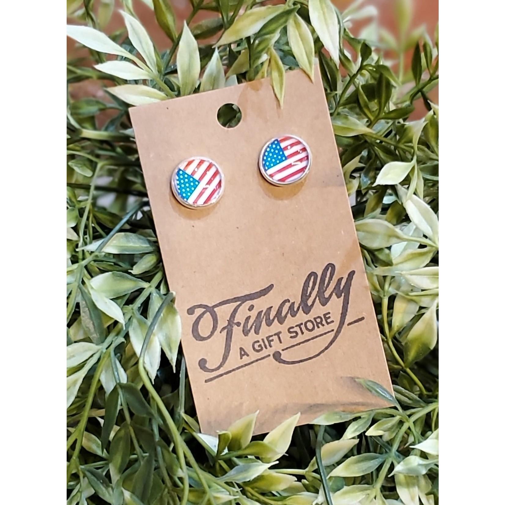 Baubles by B Earrings: American Flag Studs