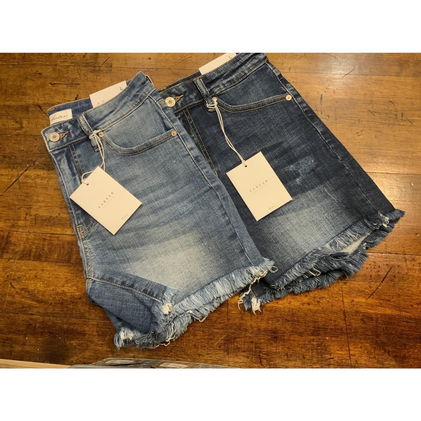 KanCan High Rise Fray Hem Shorts