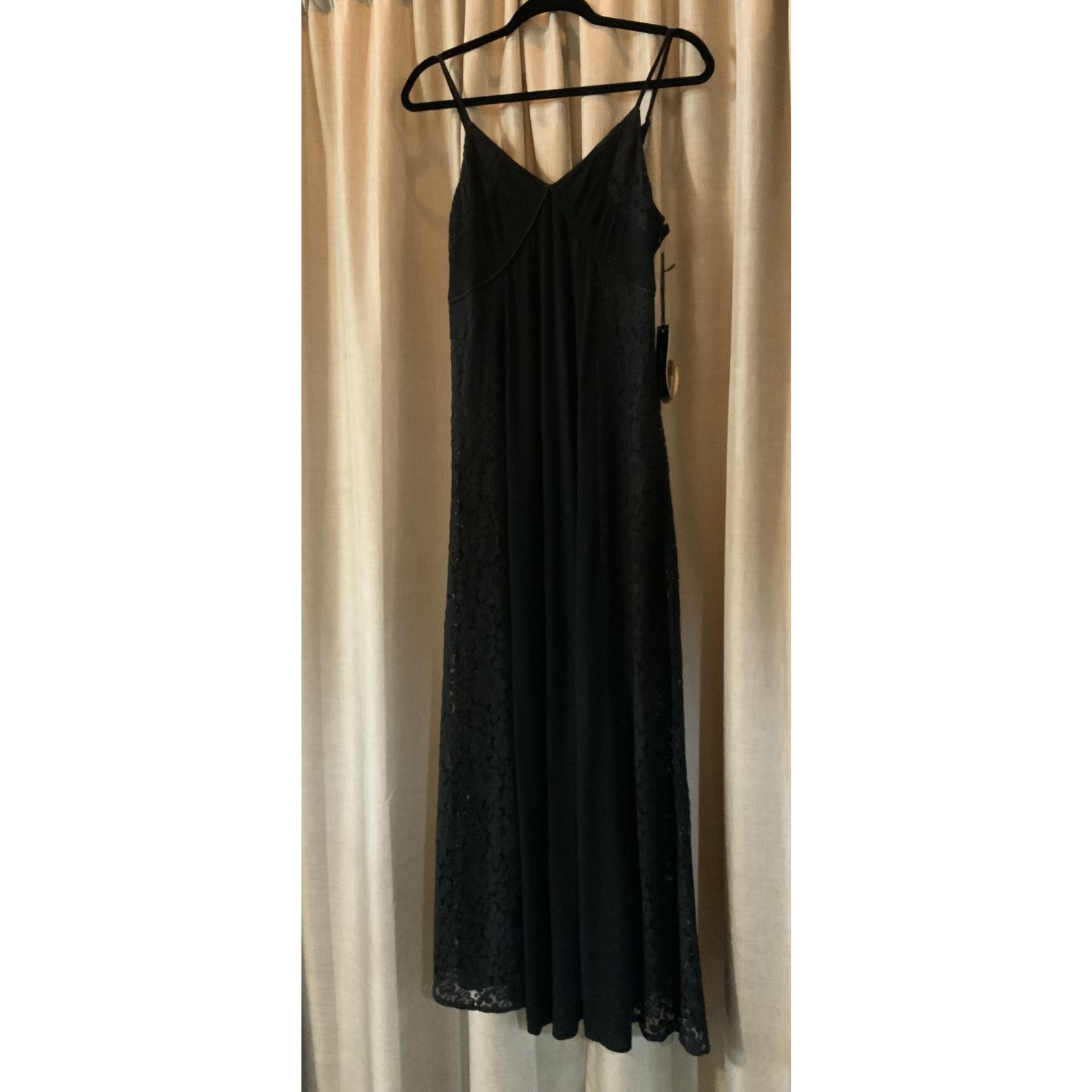 Doe & Rae Dress: Black Lace Paneled Maxi