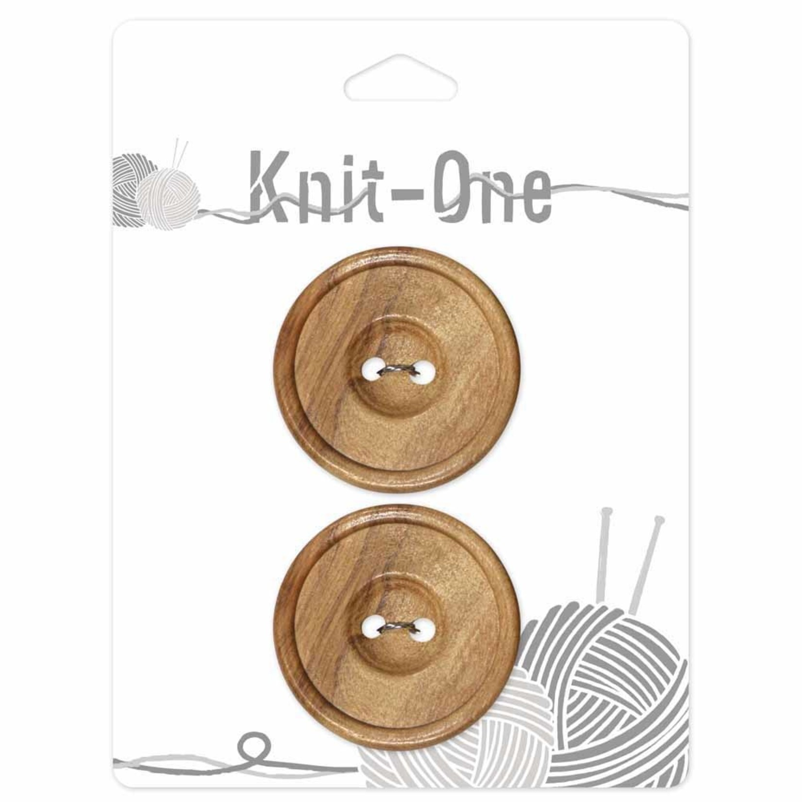 Knit One 2 Buttons x 2 holes 35mm - Wood
