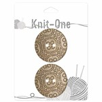 Knit One 2 boutons x 2 trous 38mm - Coconut dotted