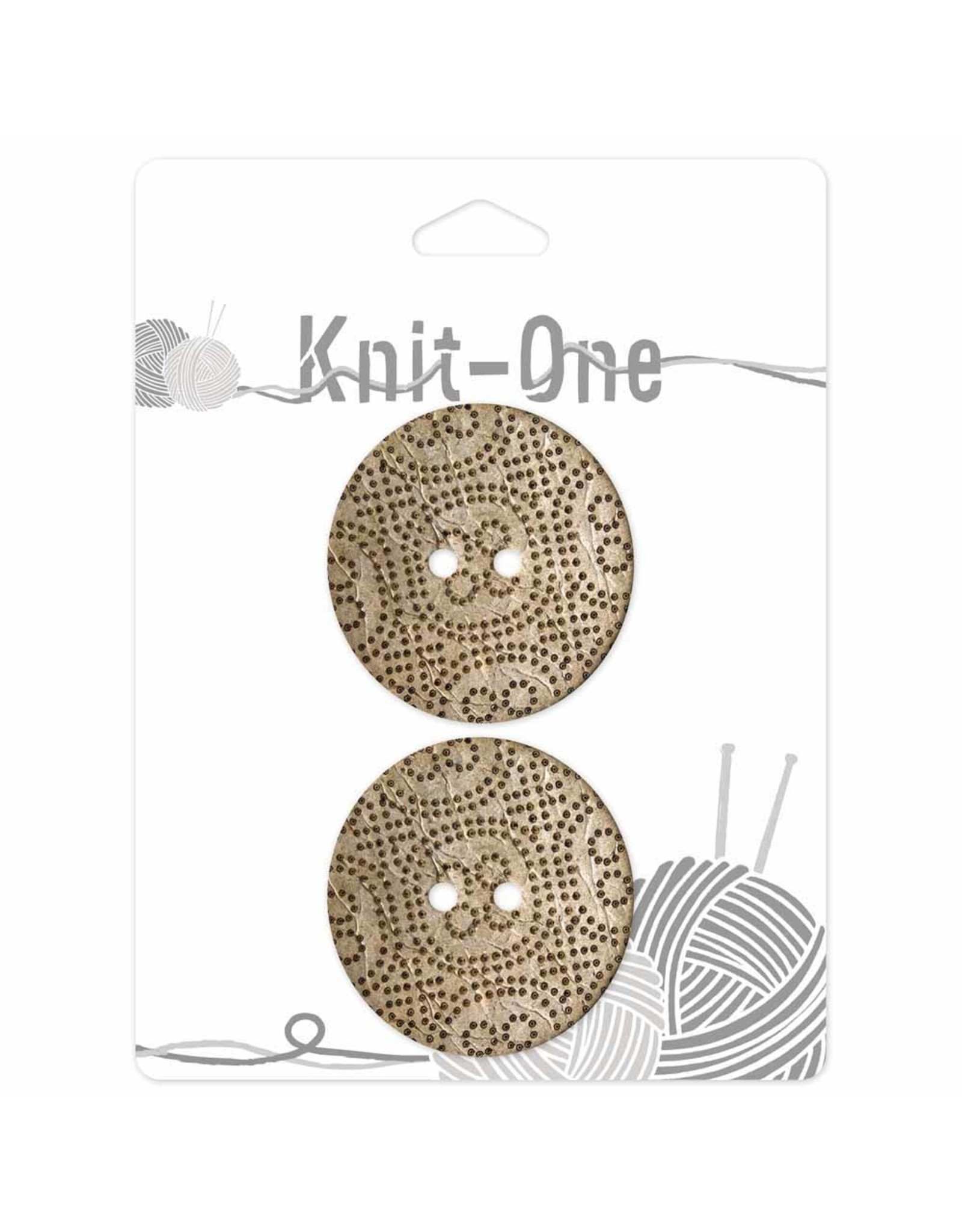Knit One 2 Buttons x 2 holes 38mm - Coconut dotted
