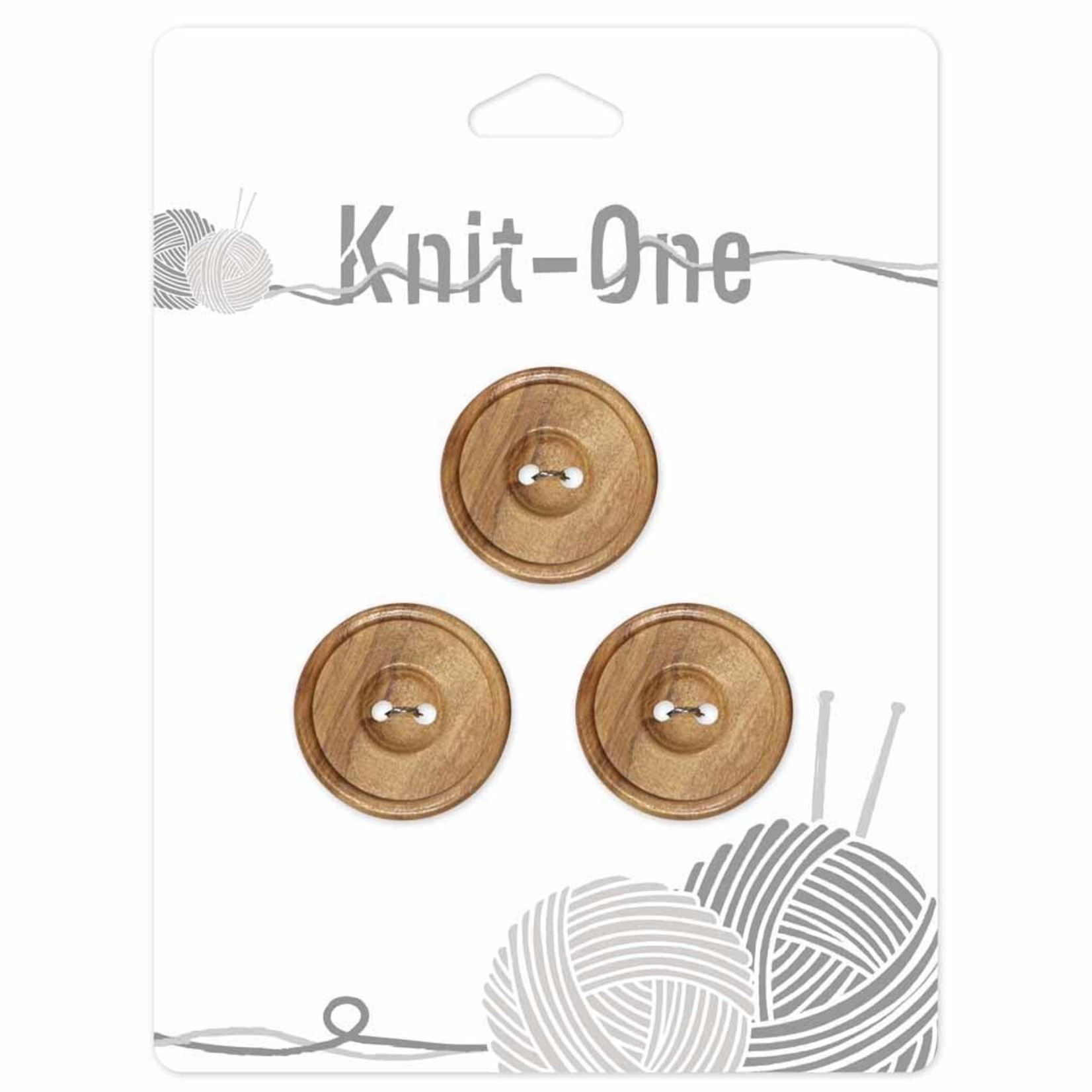 Knit One 3 boutons x 2 trous 22mm - bois