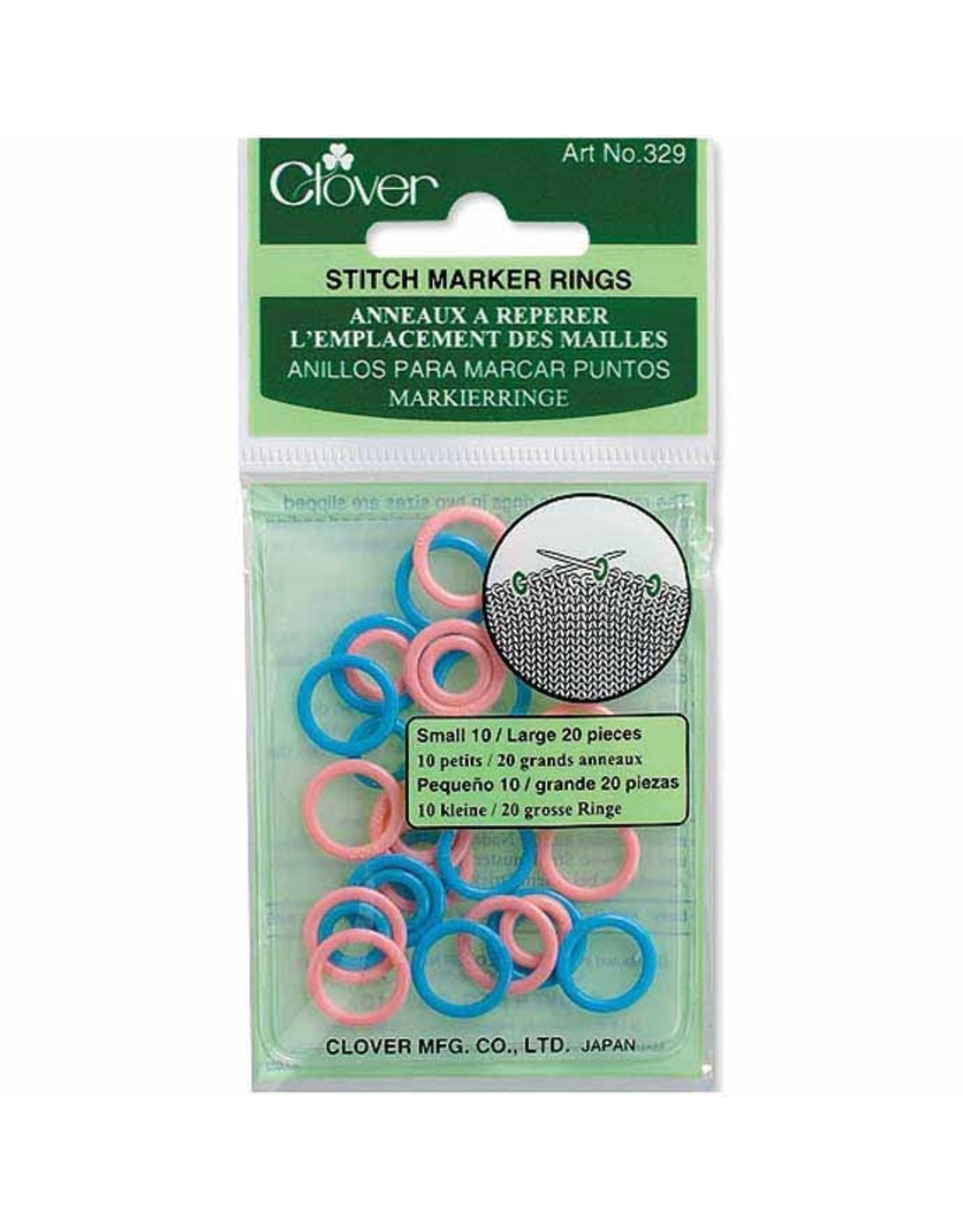 Clover Ring Stitch Markers (10 small/20 large)