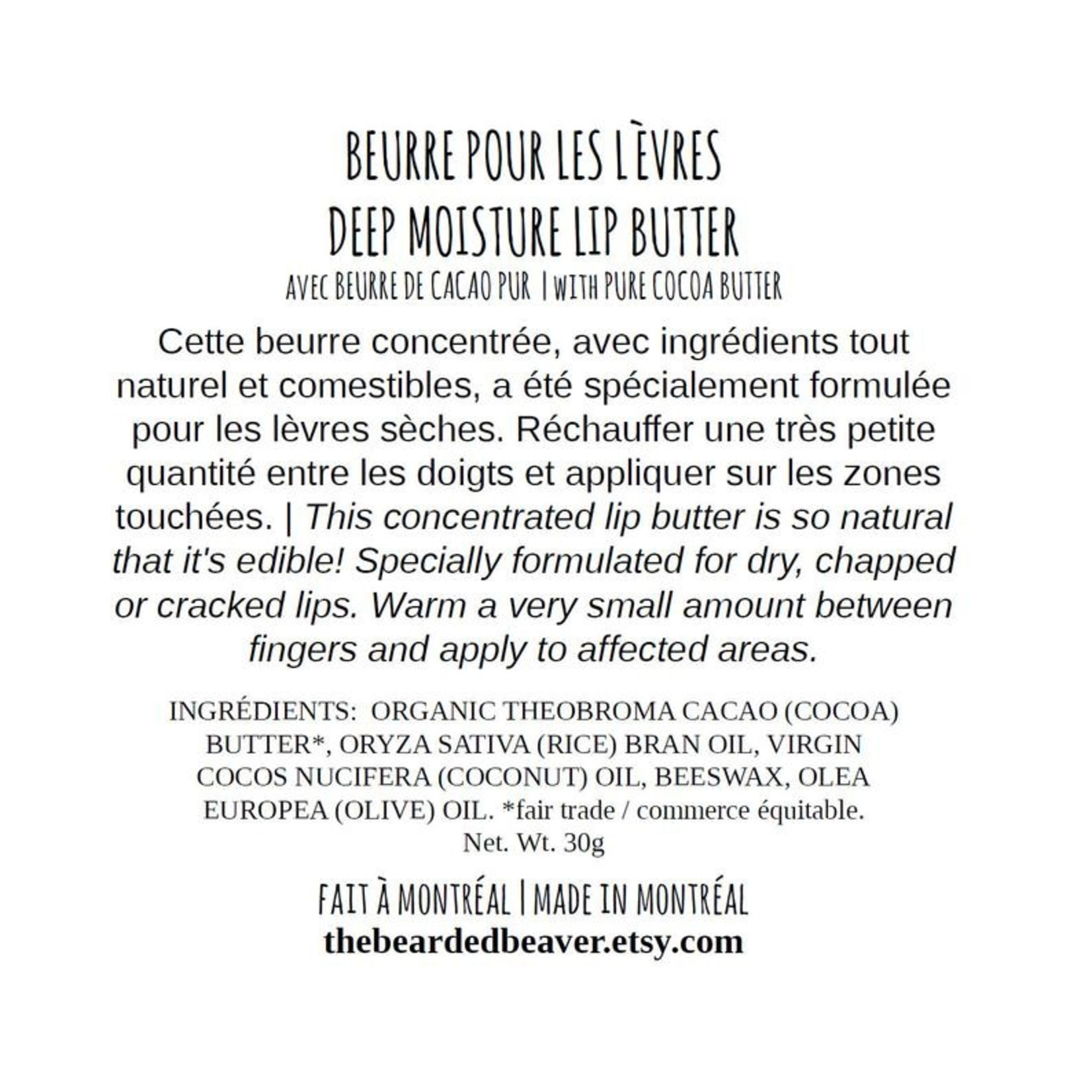 Bearded Beaver Baume pour les lèvres - Sans parfum