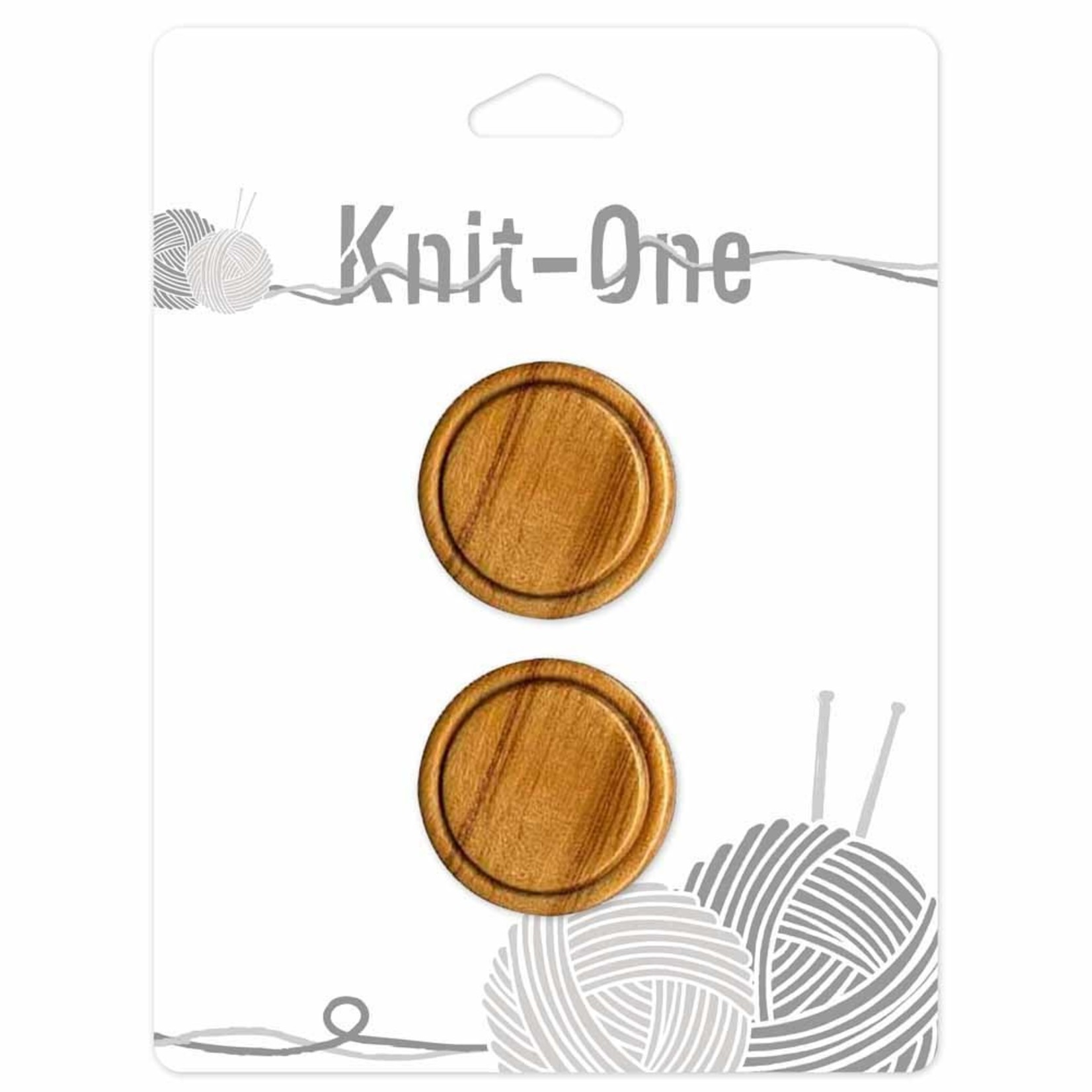 Knit One 2 Shank Buttons 28mm - Wood Natural