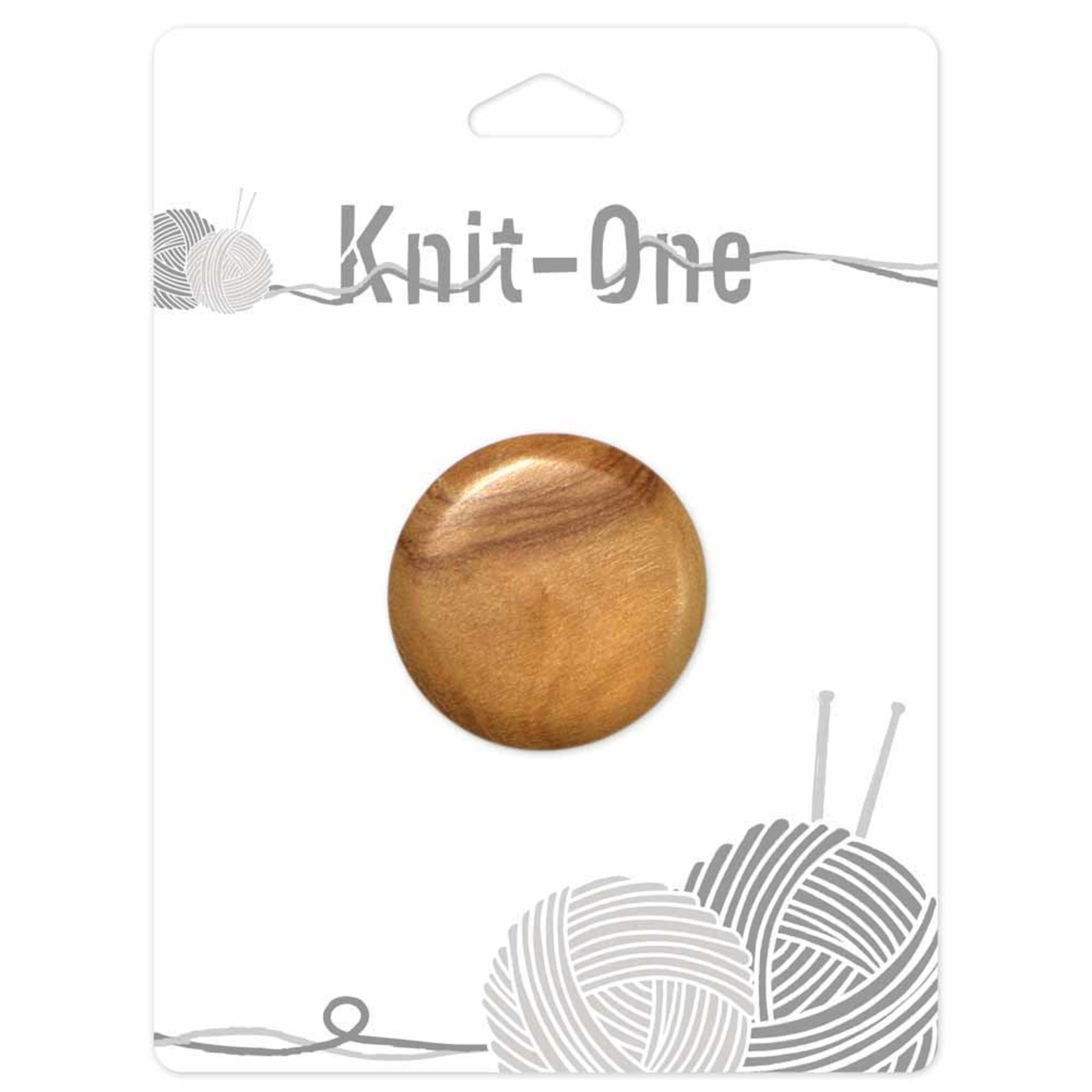 Knit One 1 Shank Button 35mm - Wood Natural