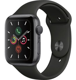 Apple (2019) Apple Watch Series 5 GPS, 44mm Space Gray Aluminum Case with Black Sport Band - S/M & M/L