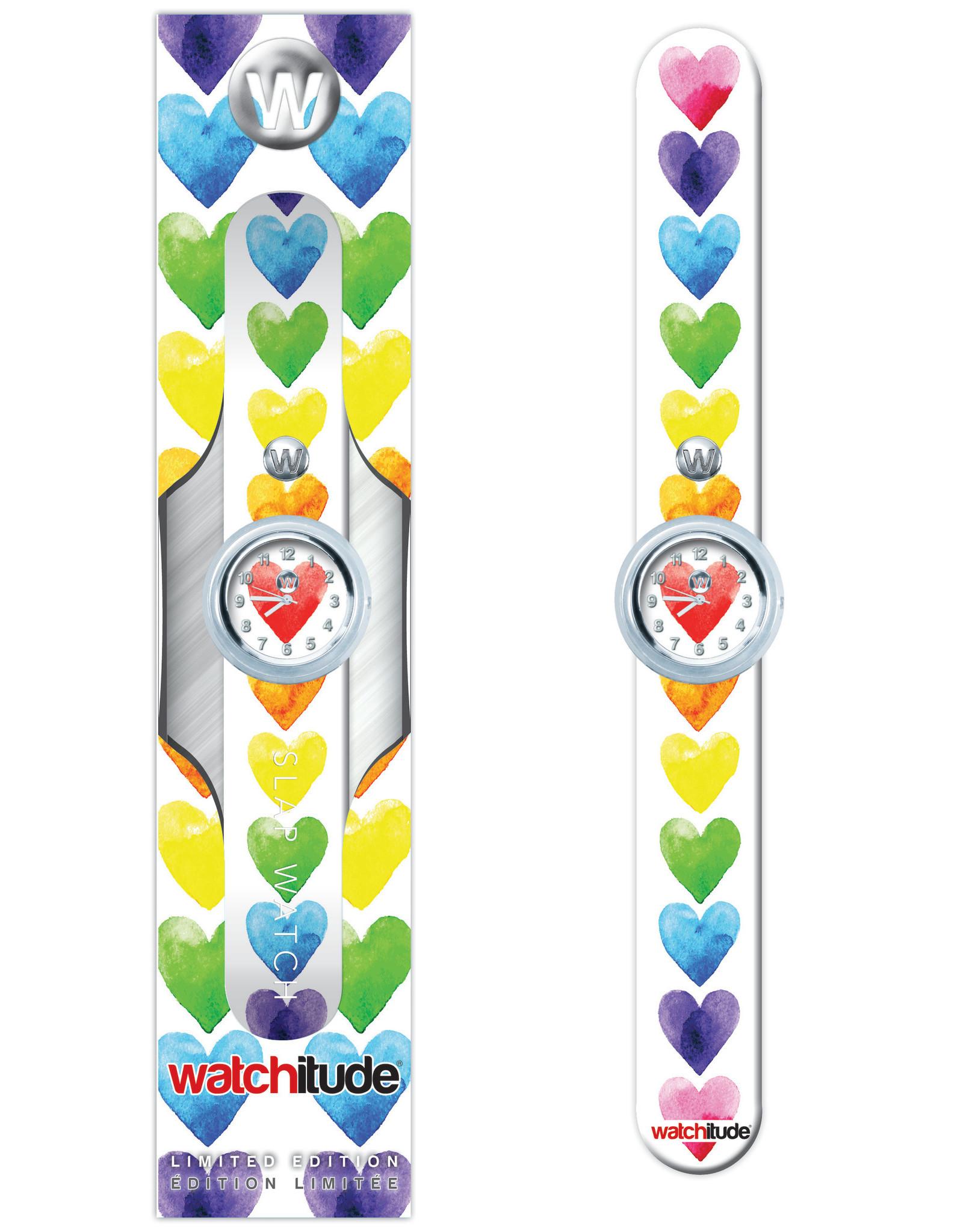 Watchitude Watchitude Slap- watercolor hearts
