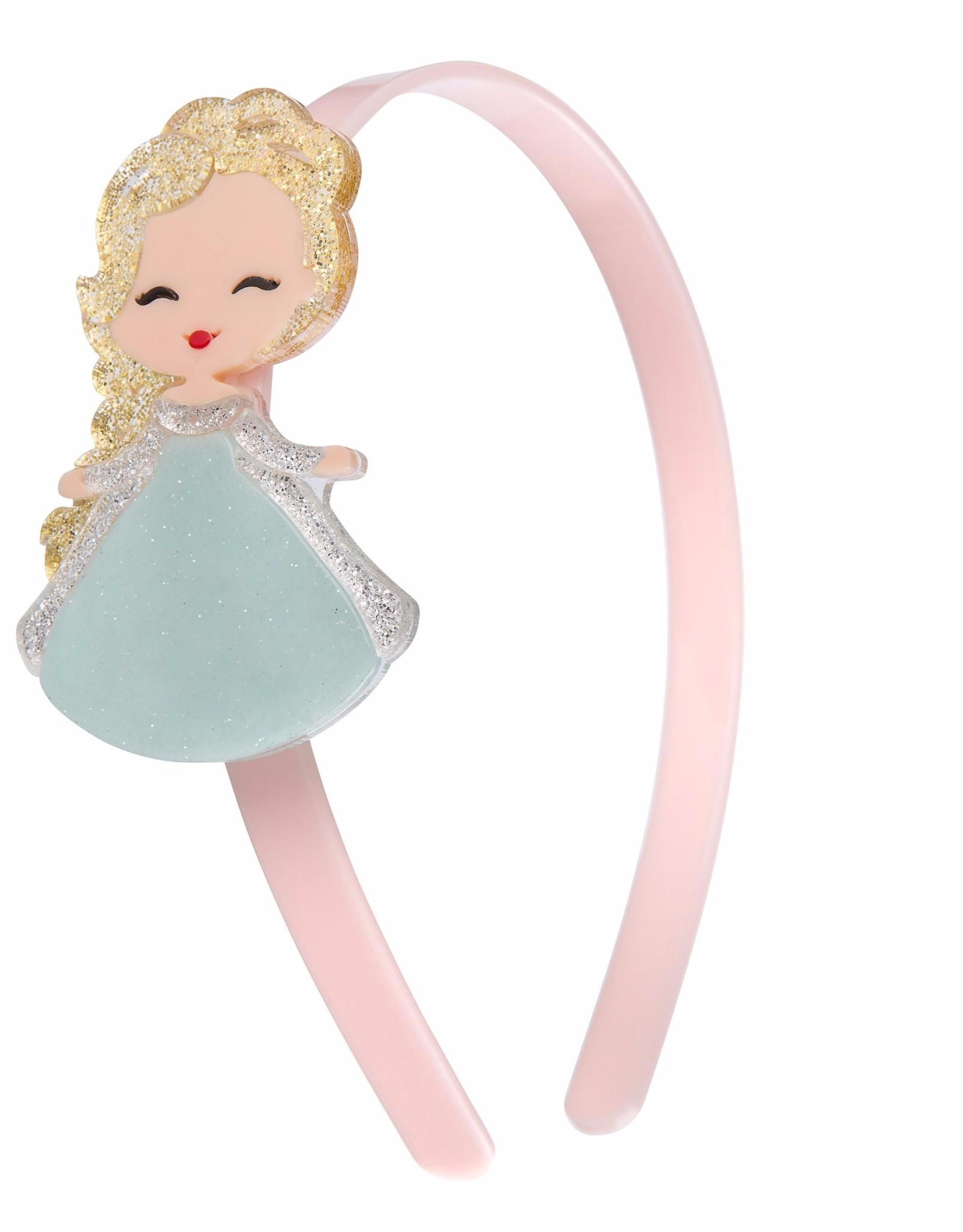 Lillies & Roses Headband Cute Doll with Sparkle Hair (mint dress)