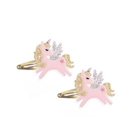 Lillies & Roses Hair Clip Winged Unicorn Glitter Gold Snap