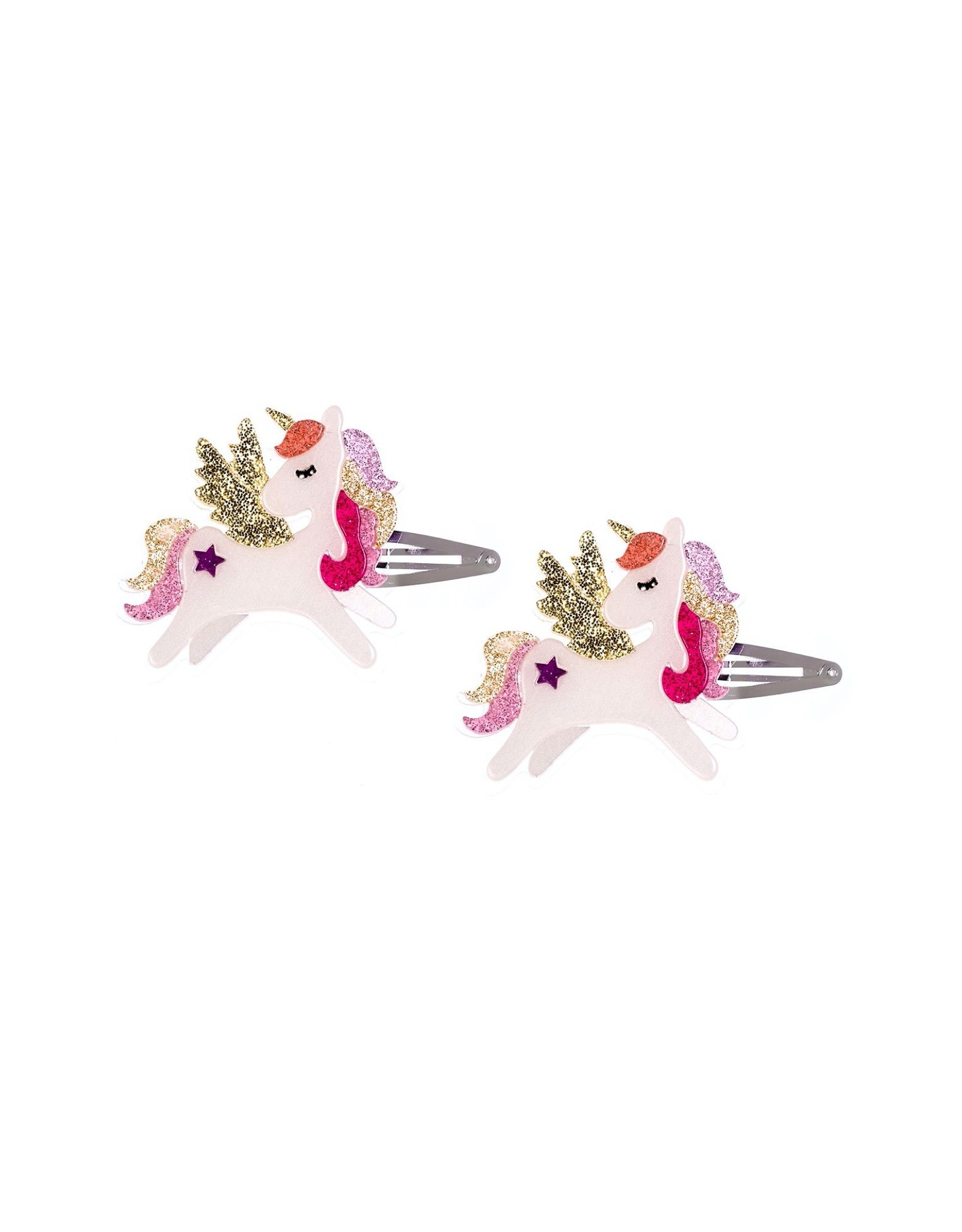 Lillies & Roses Hair Clip Winged Unicorn Coral Glitter Snap