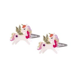 Lillies & Roses LR Hair Clip Winged Unicorn Coral Glitter Snap
