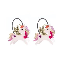 Lillies & Roses Ponytail Winged Unicorn Coral Glitter