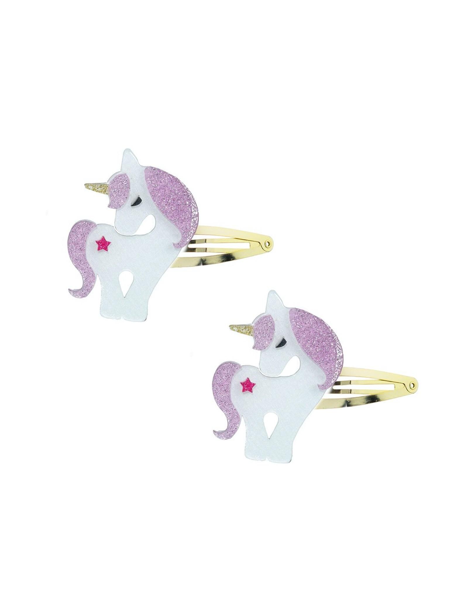 Lillies & Roses Hair Clip Unicorn Light Pink Snap