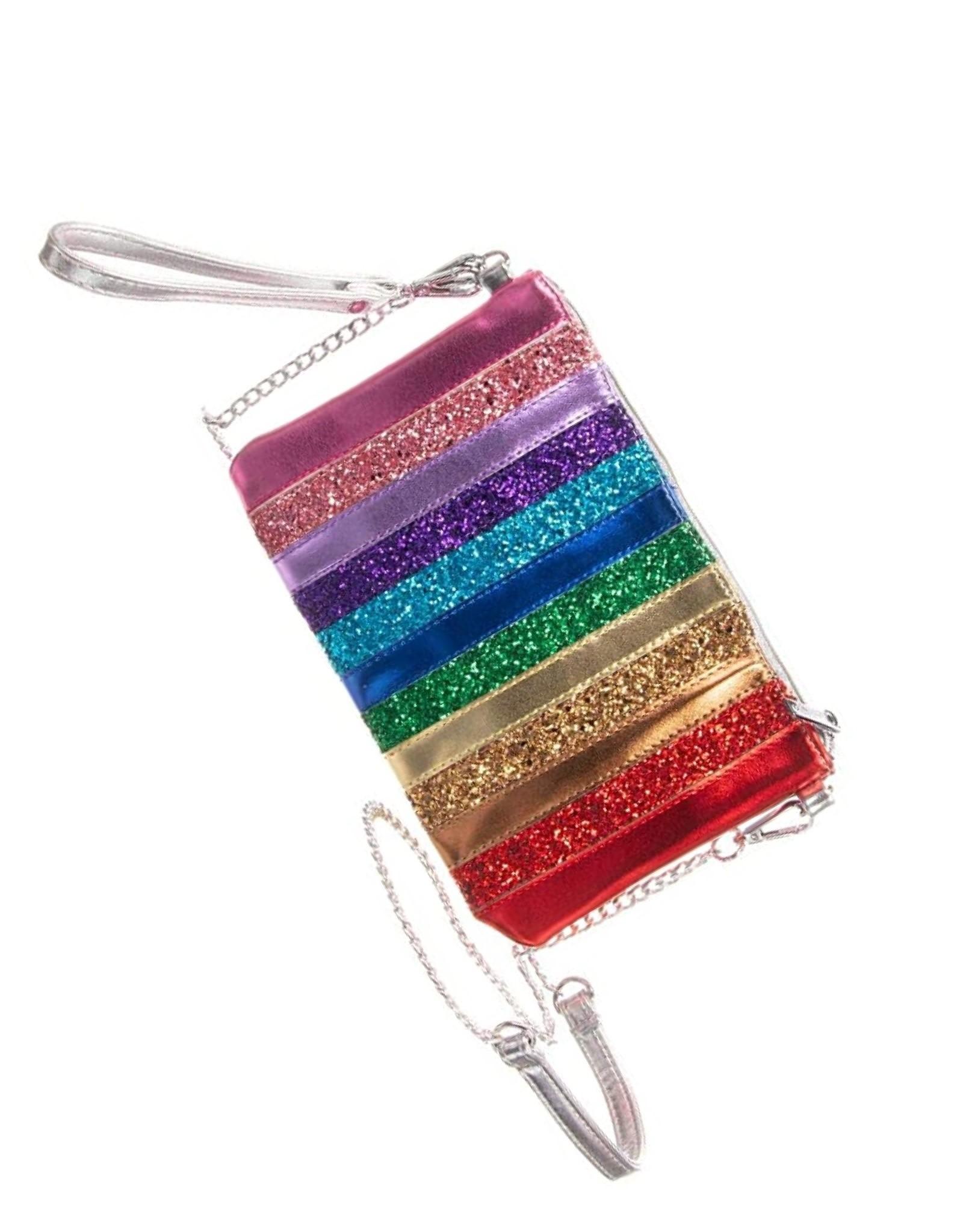 Bari Lynn Rainbow Glitter Stripe Wristlet